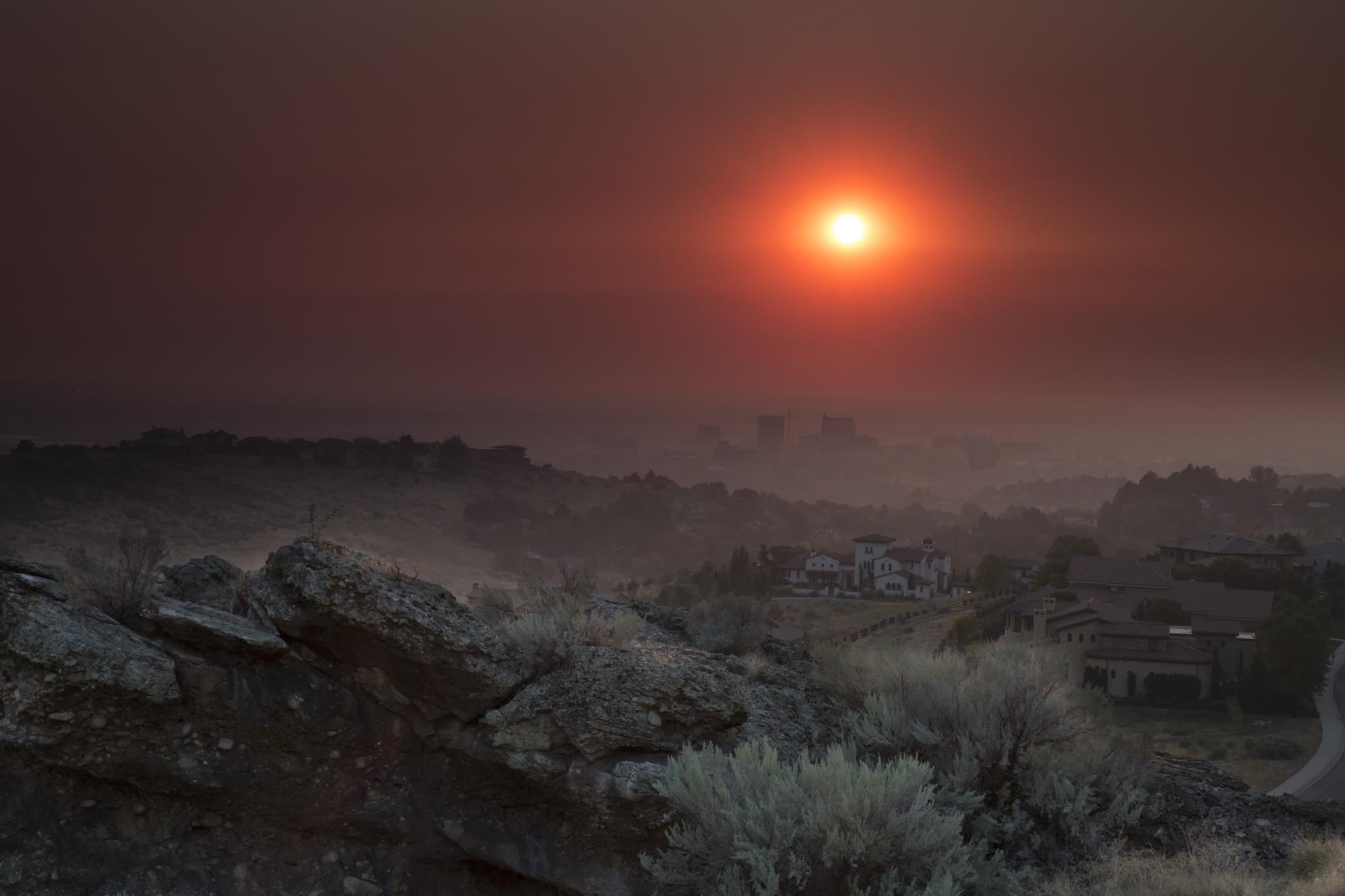 Smokey Sunset over Boise by Bob Vaughan