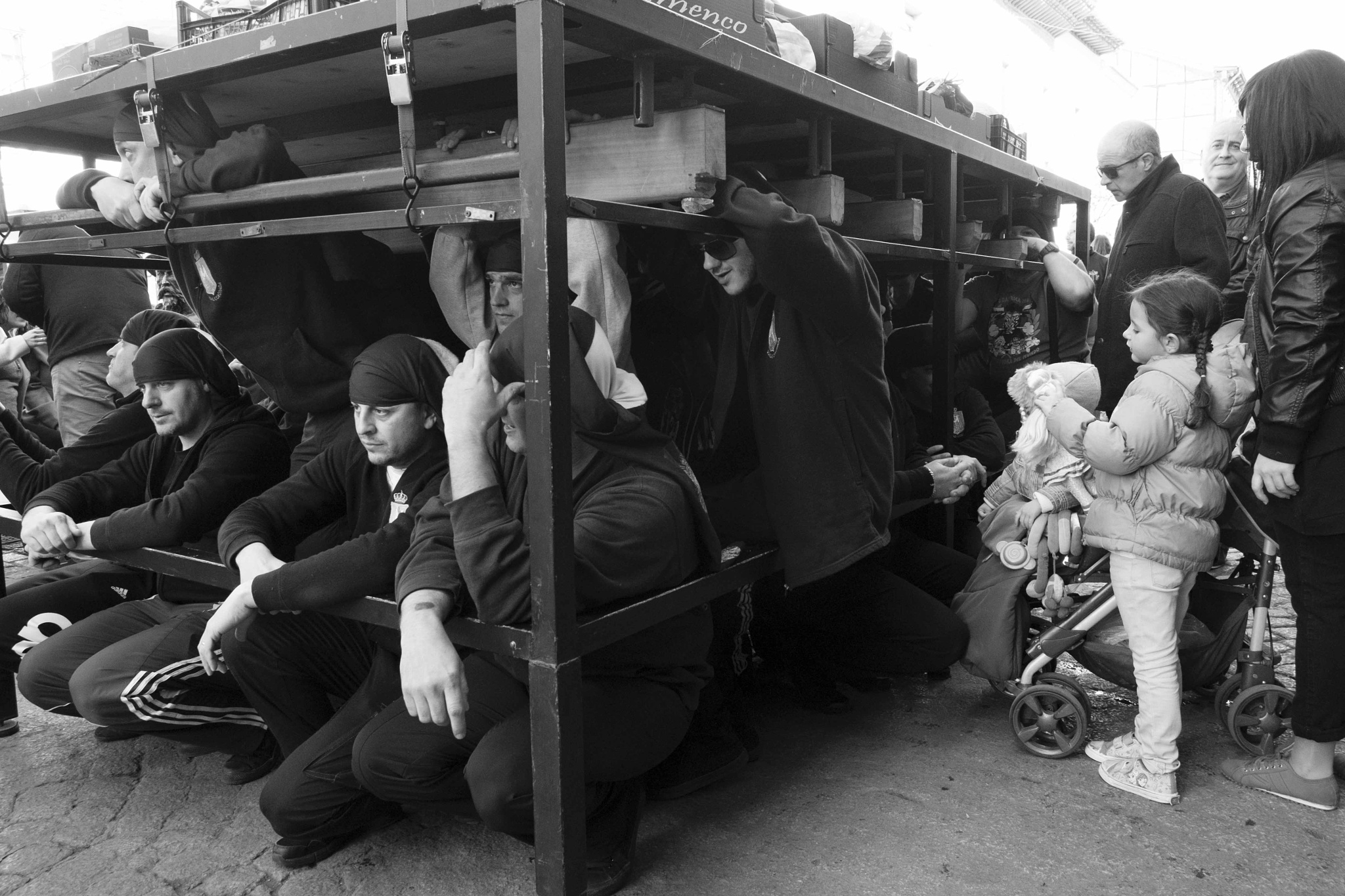 Photo in Street Photography #religion #easter #semana santa #costaleros #b&w #b&n #expresiones #expressions
