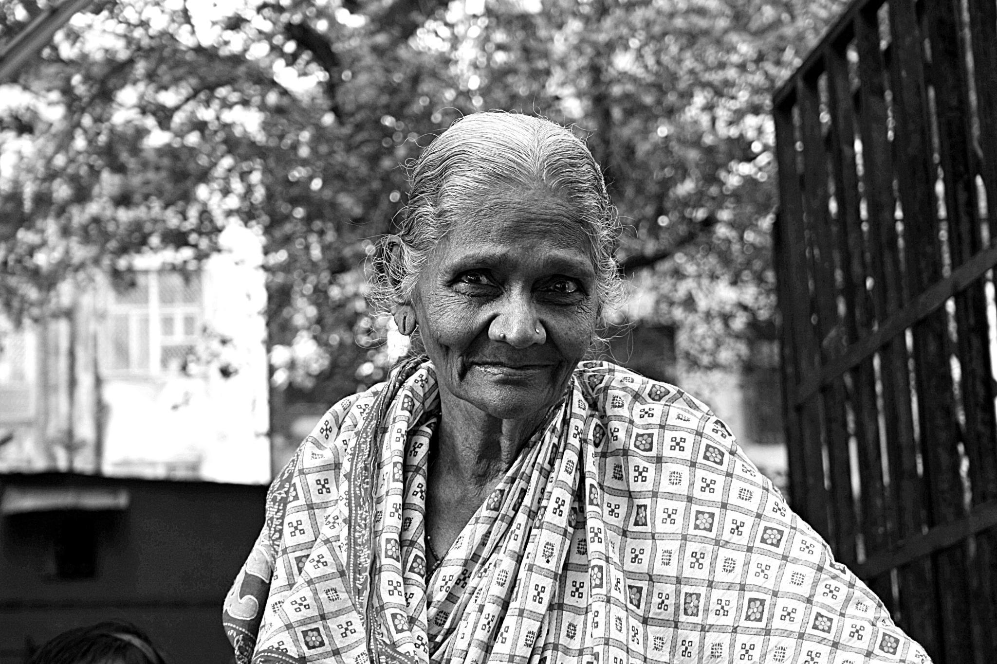Photo in Black and White #lady #oldlady #smile #happy #age #india #mumbai