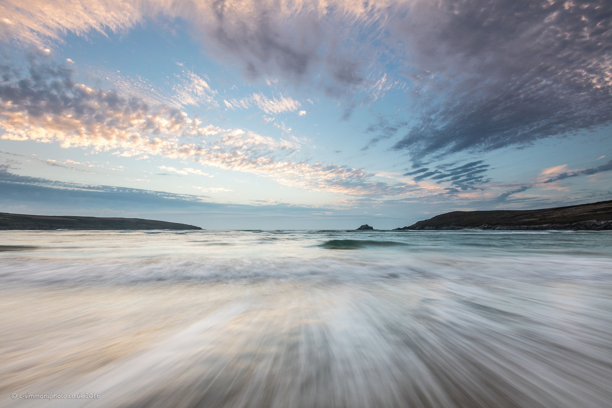 Crantock Dappled Sky & Tideline by Chris Simmons Photography