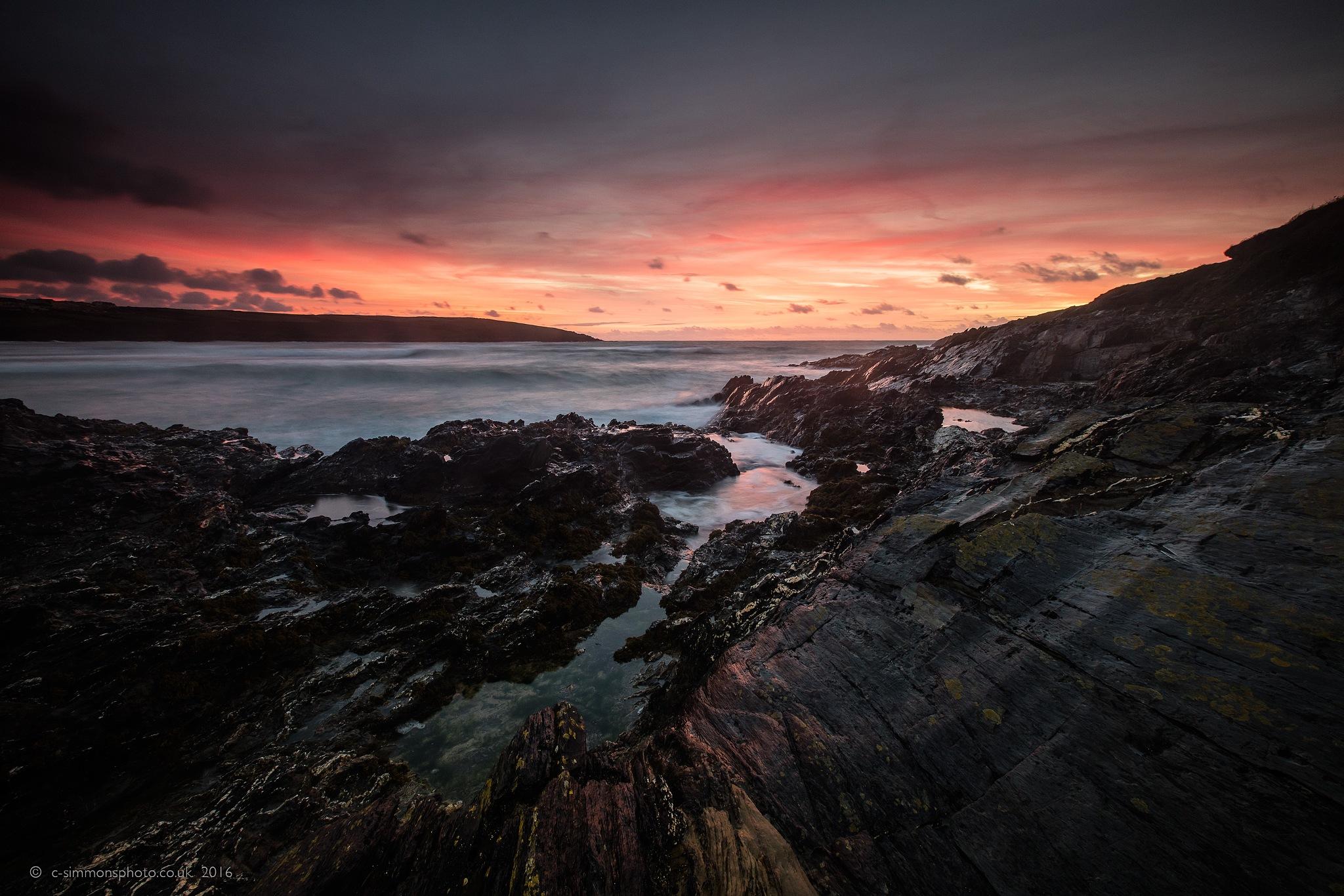 Crantock Ledge Amber Sundown by Chris Simmons Photography