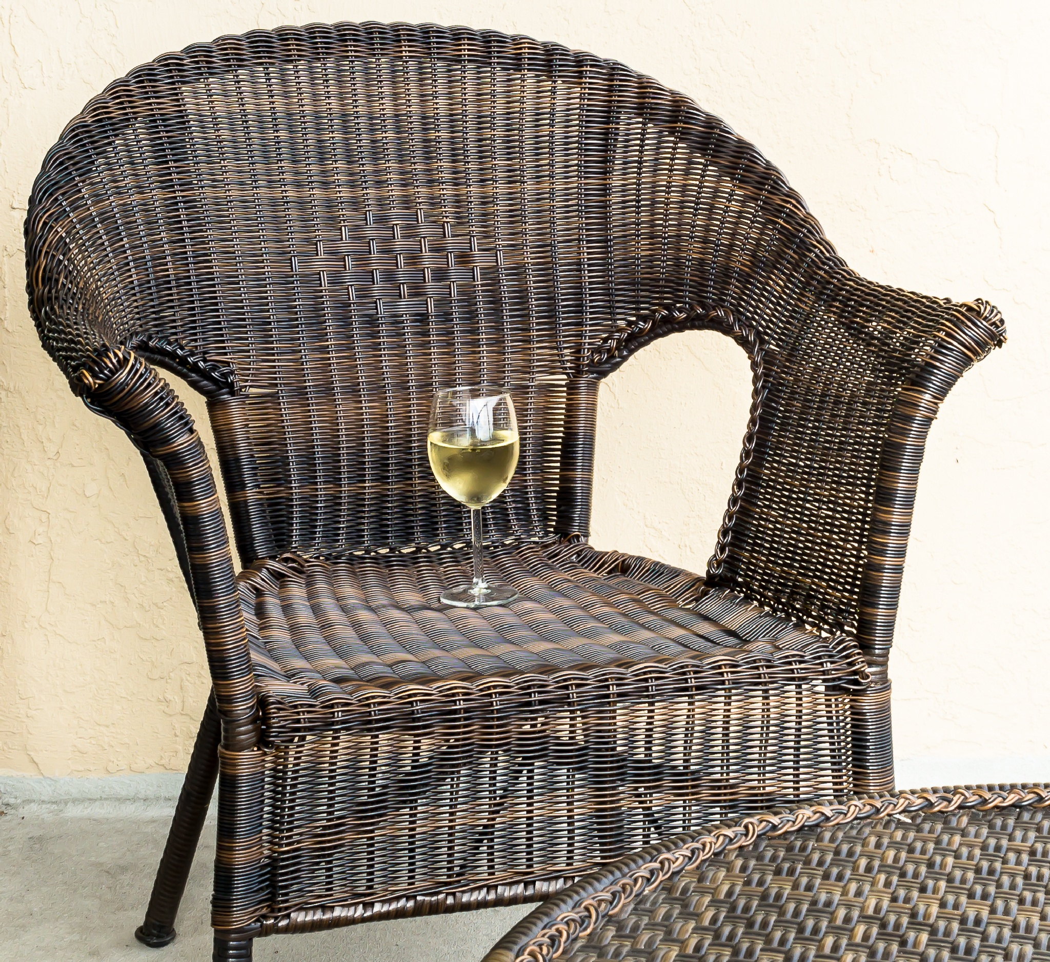 Wine on the deck chair by Stephen C. Benine