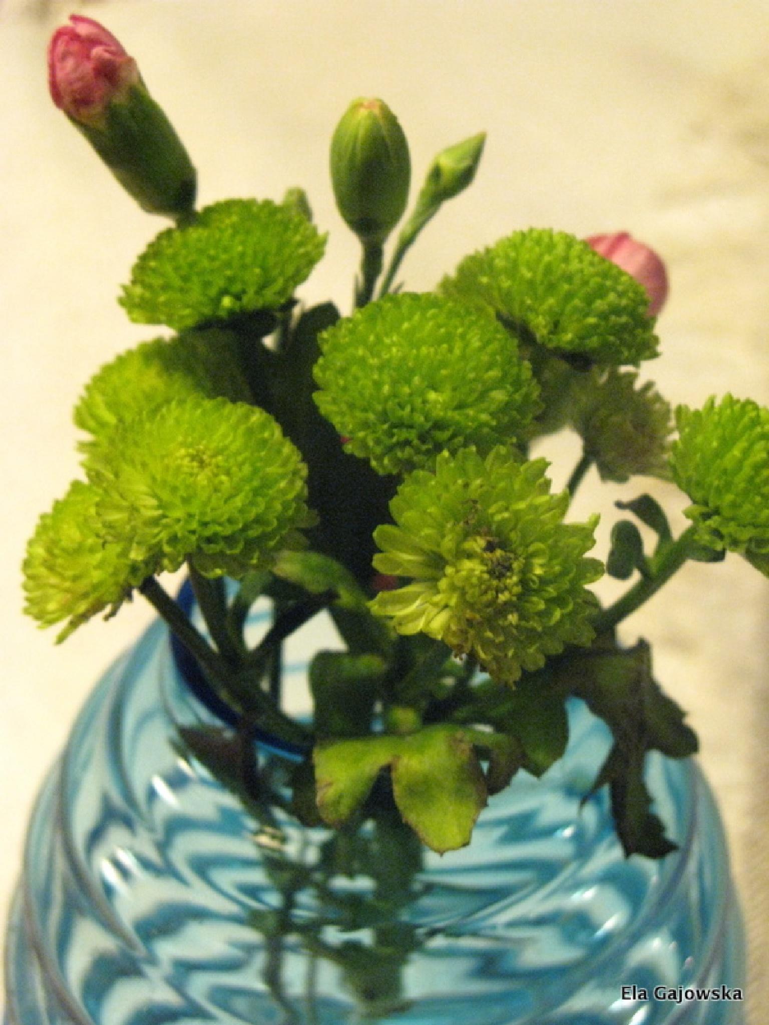 Flowers in a blue glass vase by Ela Gajowska