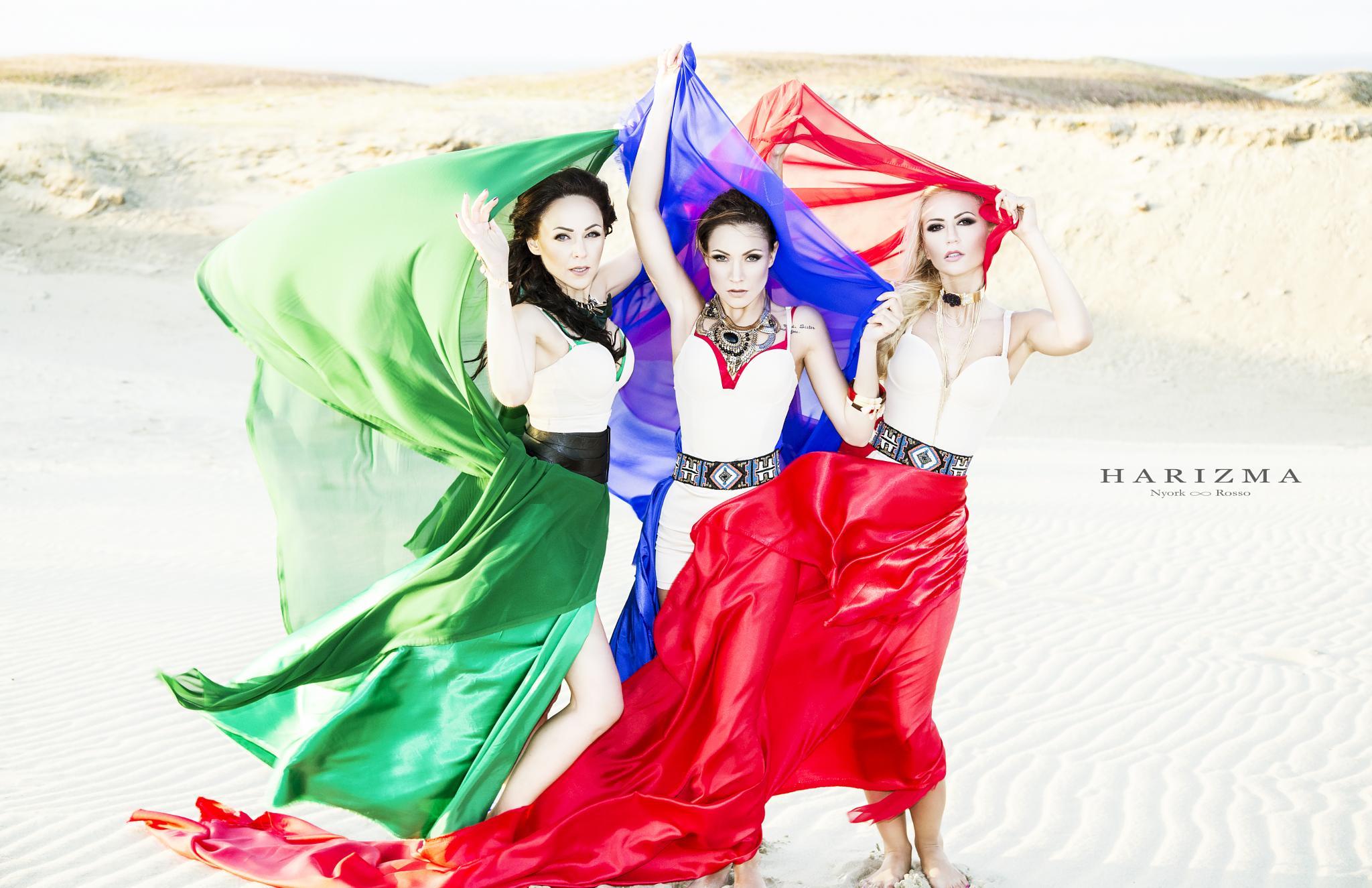 Photo in Fashion #harizma #models #fashion #vogue #sand #sea #beach #red #green #blue #dark blue #portrait