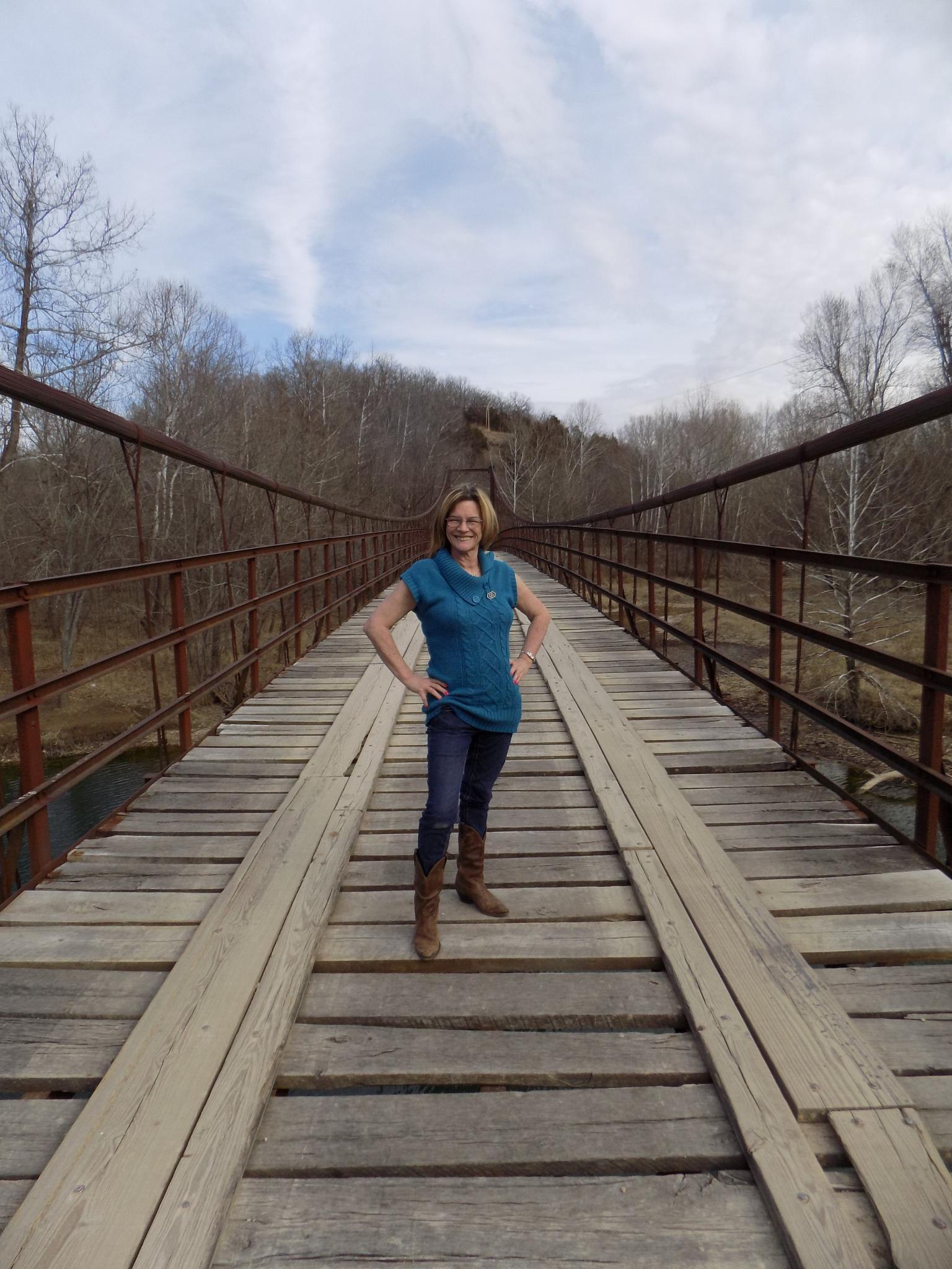 Old swinging bridge by Brenda Aholt