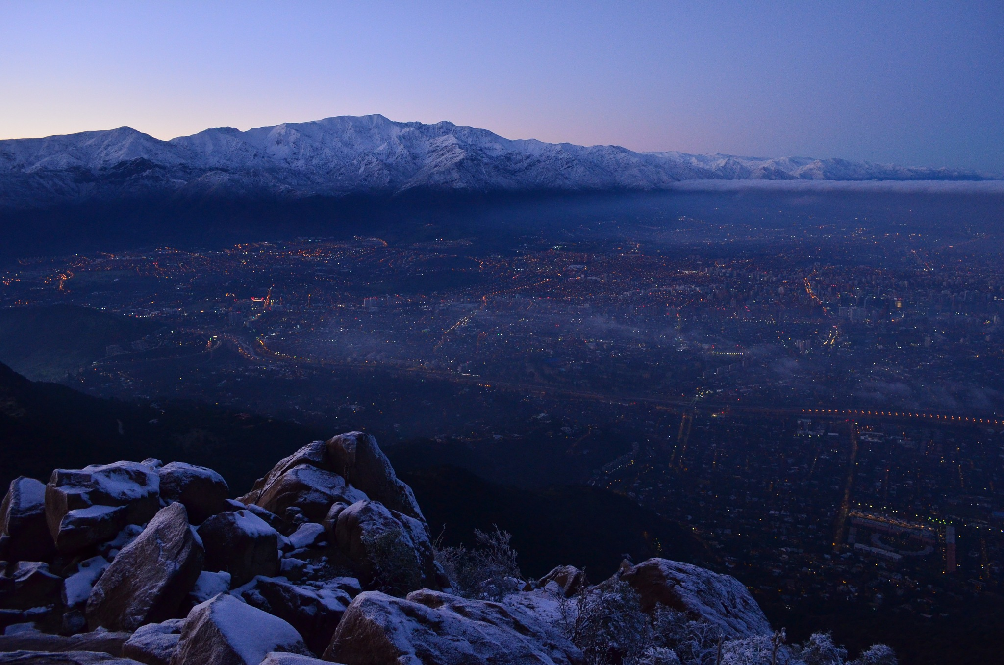 Sunrise in Santiago the Chile by Guillermo Salinas
