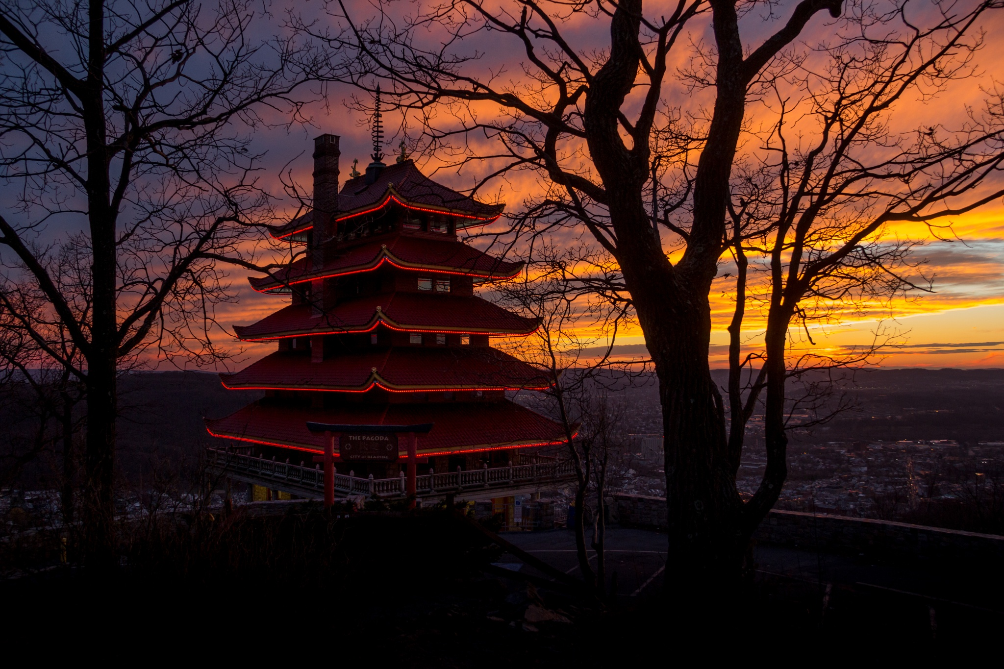 Pagoda in Sunset by Otto Jay Lehrbach