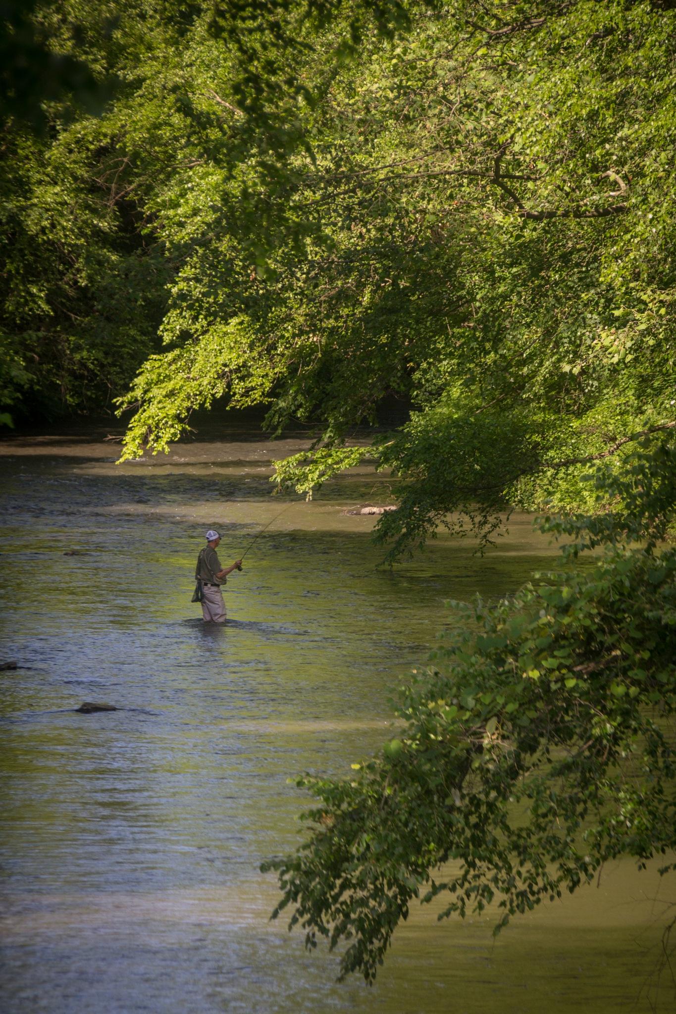 Little Schuylkill River Fisherman by Otto Jay Lehrbach