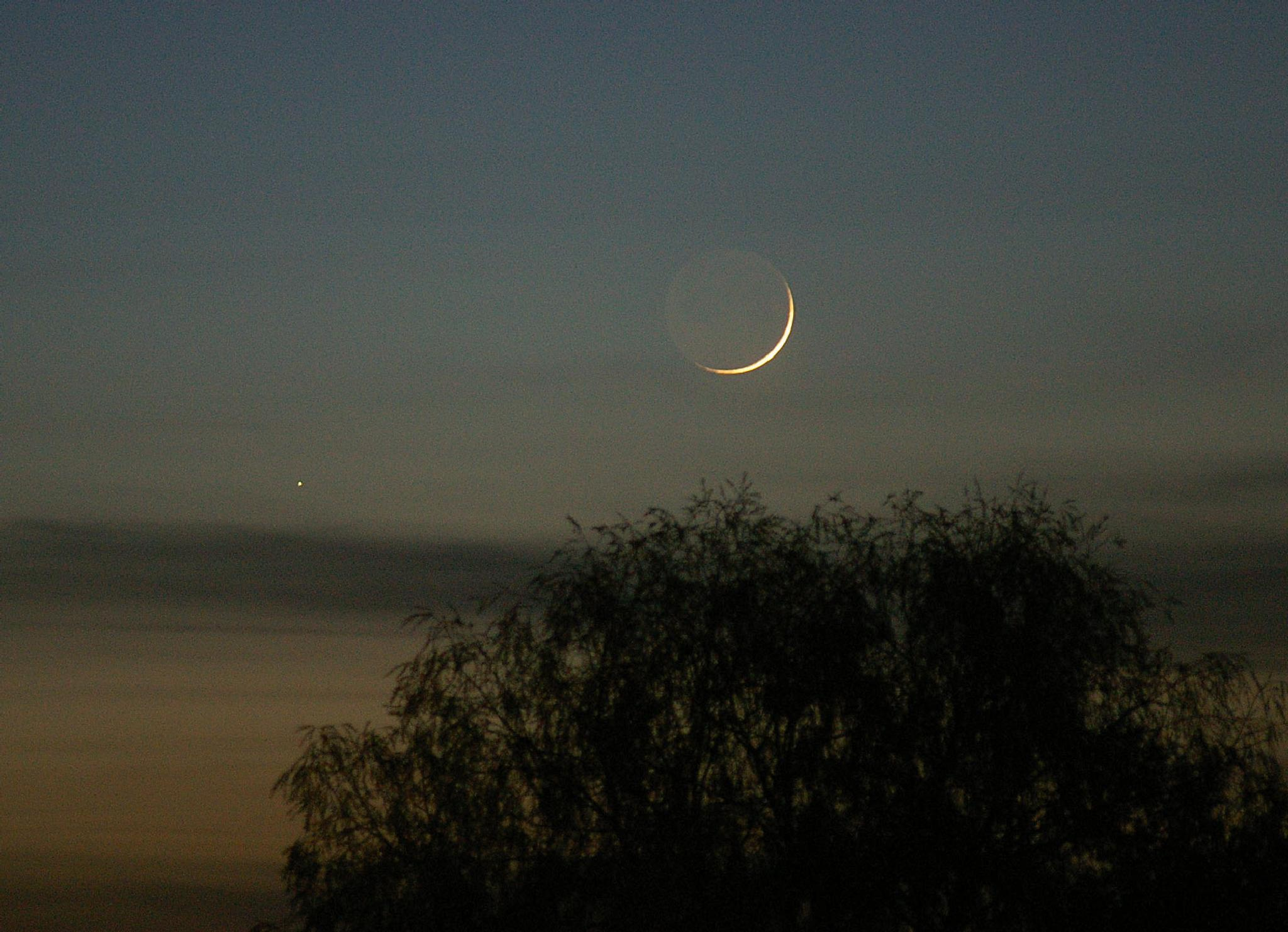 Planet Mercury and crescent moon 2008 by Anders Wettergren