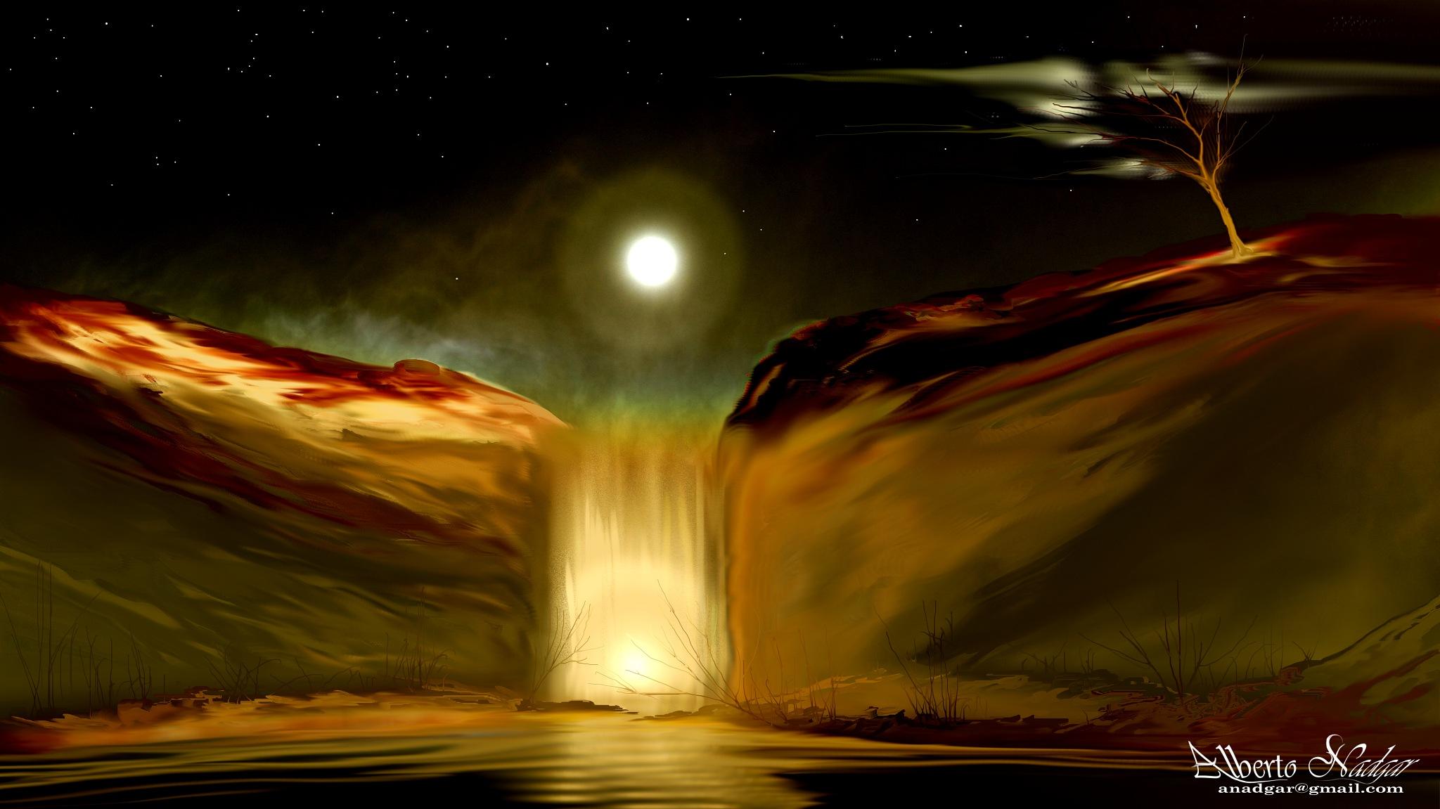 cascada de noche by Anadgar03