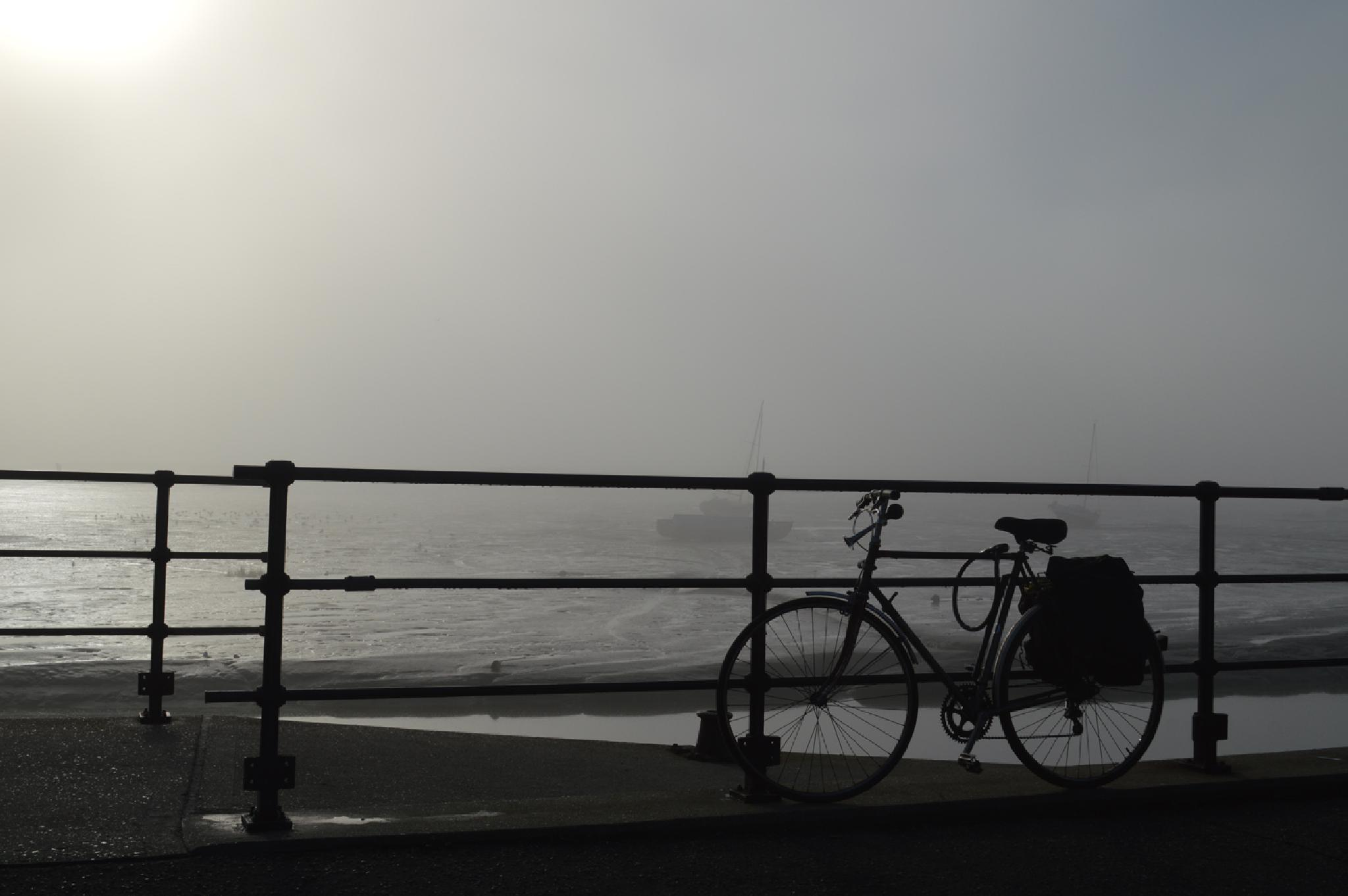 Photo in Sea and Sand #leigh-on-sea #fog #bicycle