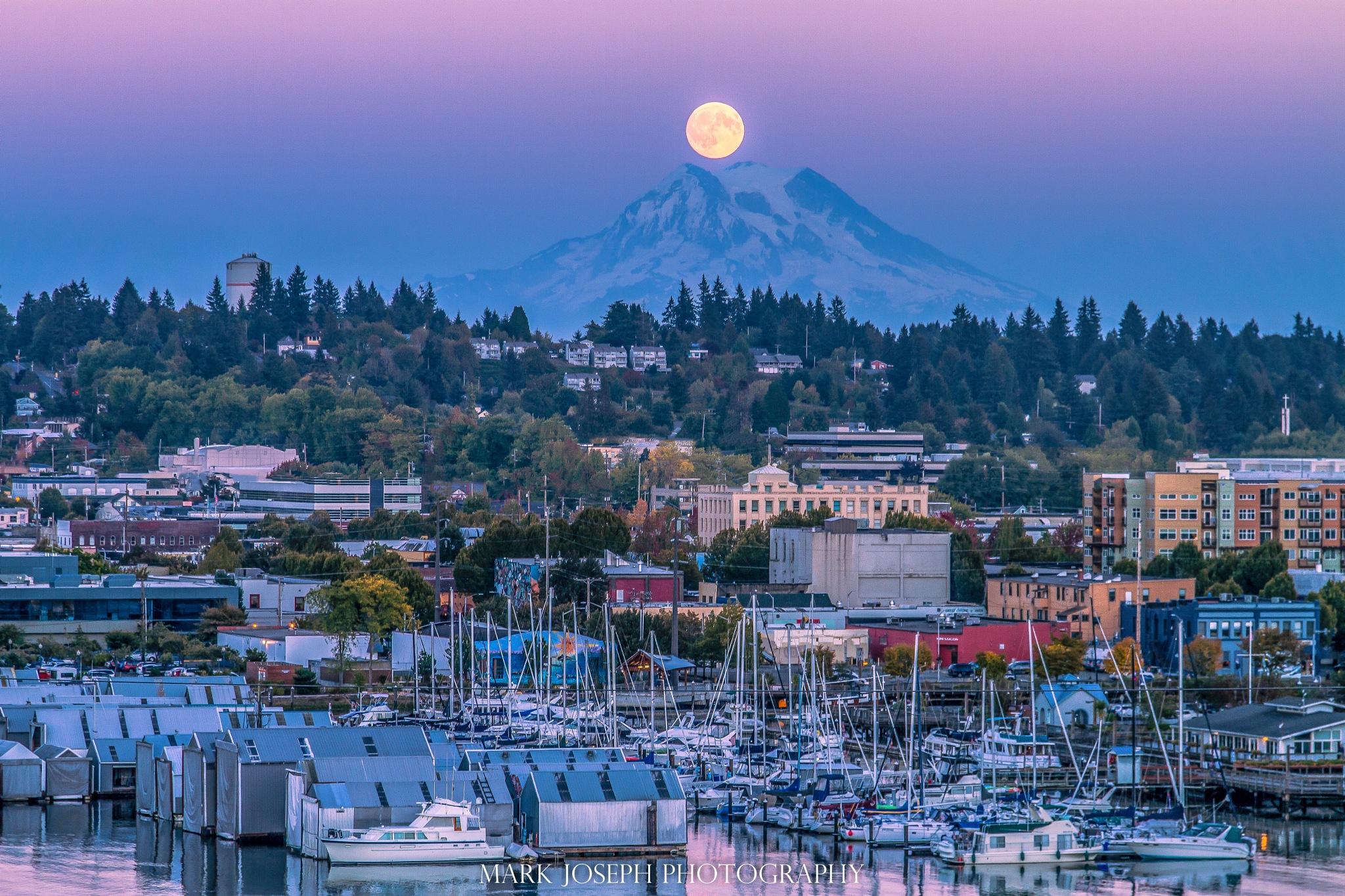 Moon over Mt. Rainier and Olympia by Mark Joseph