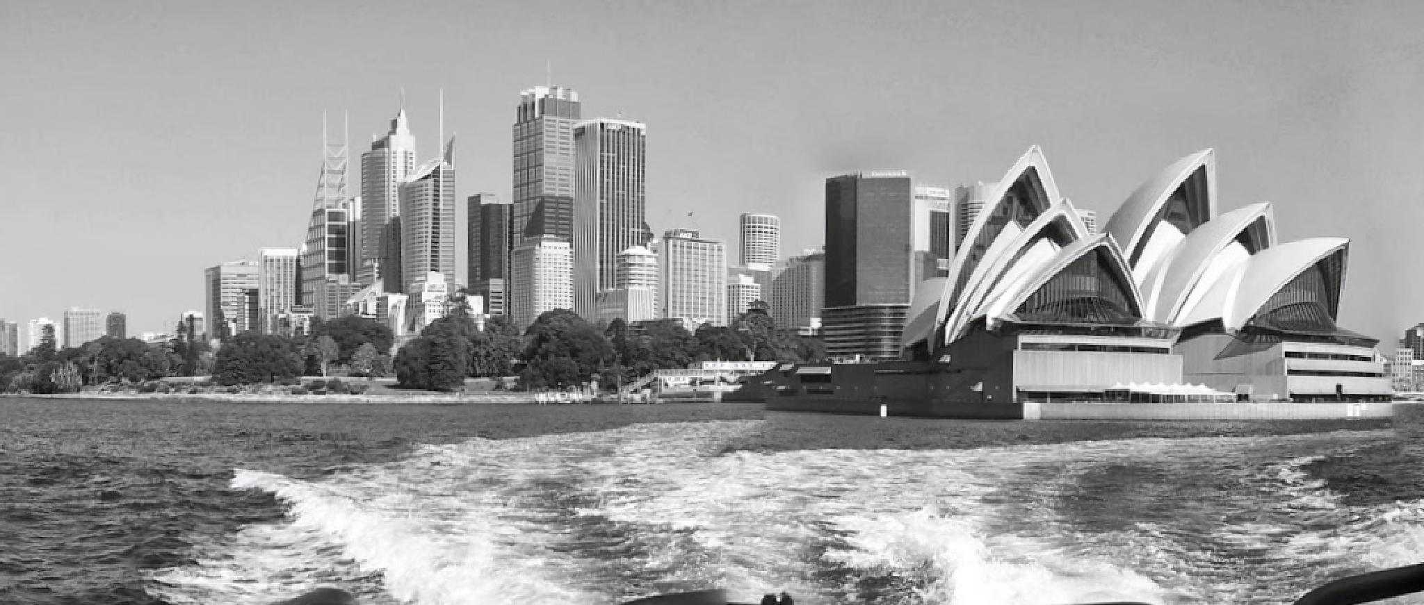 Sydney harbour with the iconic Sydney Opera House in prime position in downtown Sydney by John Beauchamp Ball
