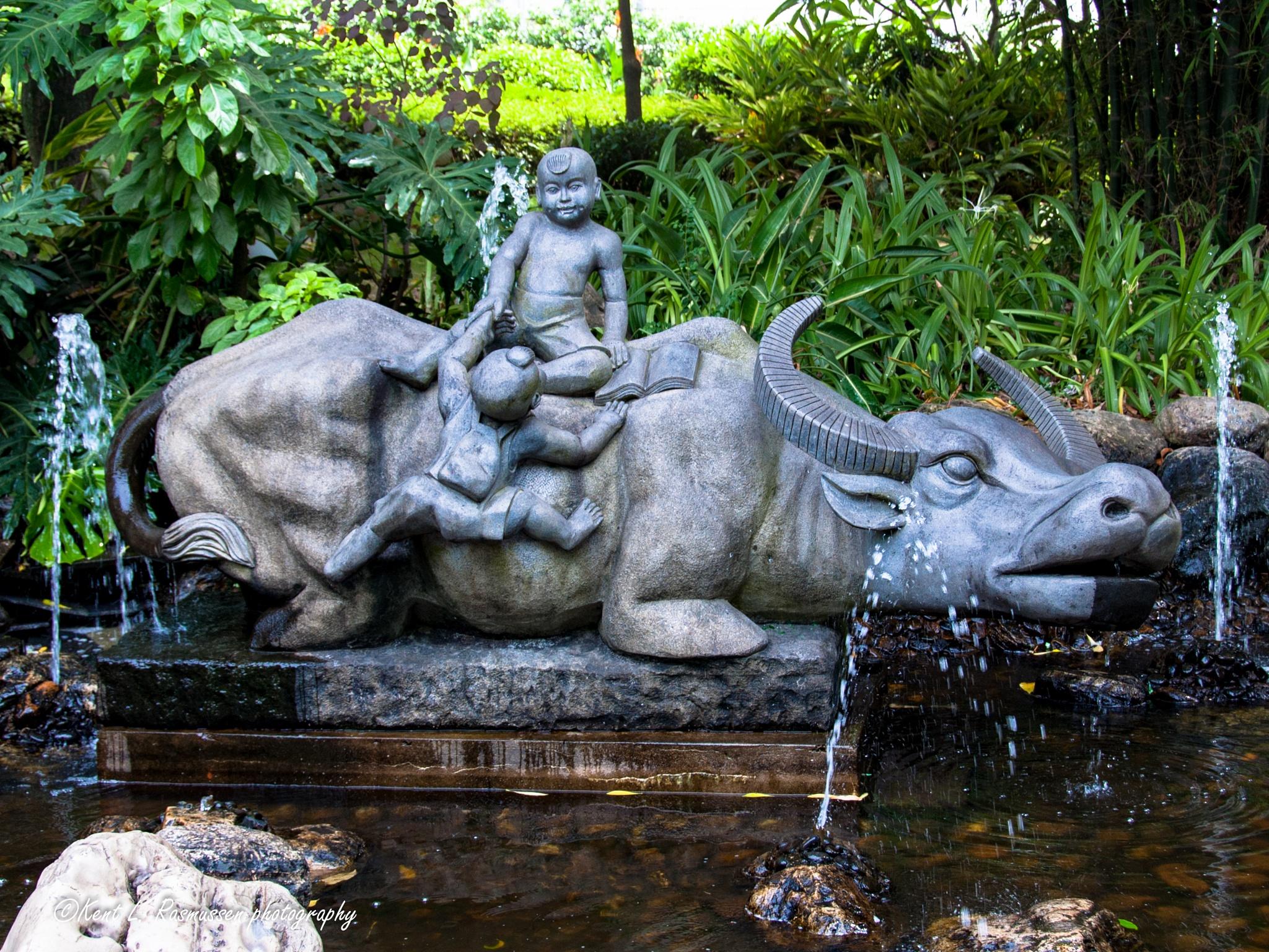 Water Buffalo fountain, Xiamen China by Kent L. Rasmussen