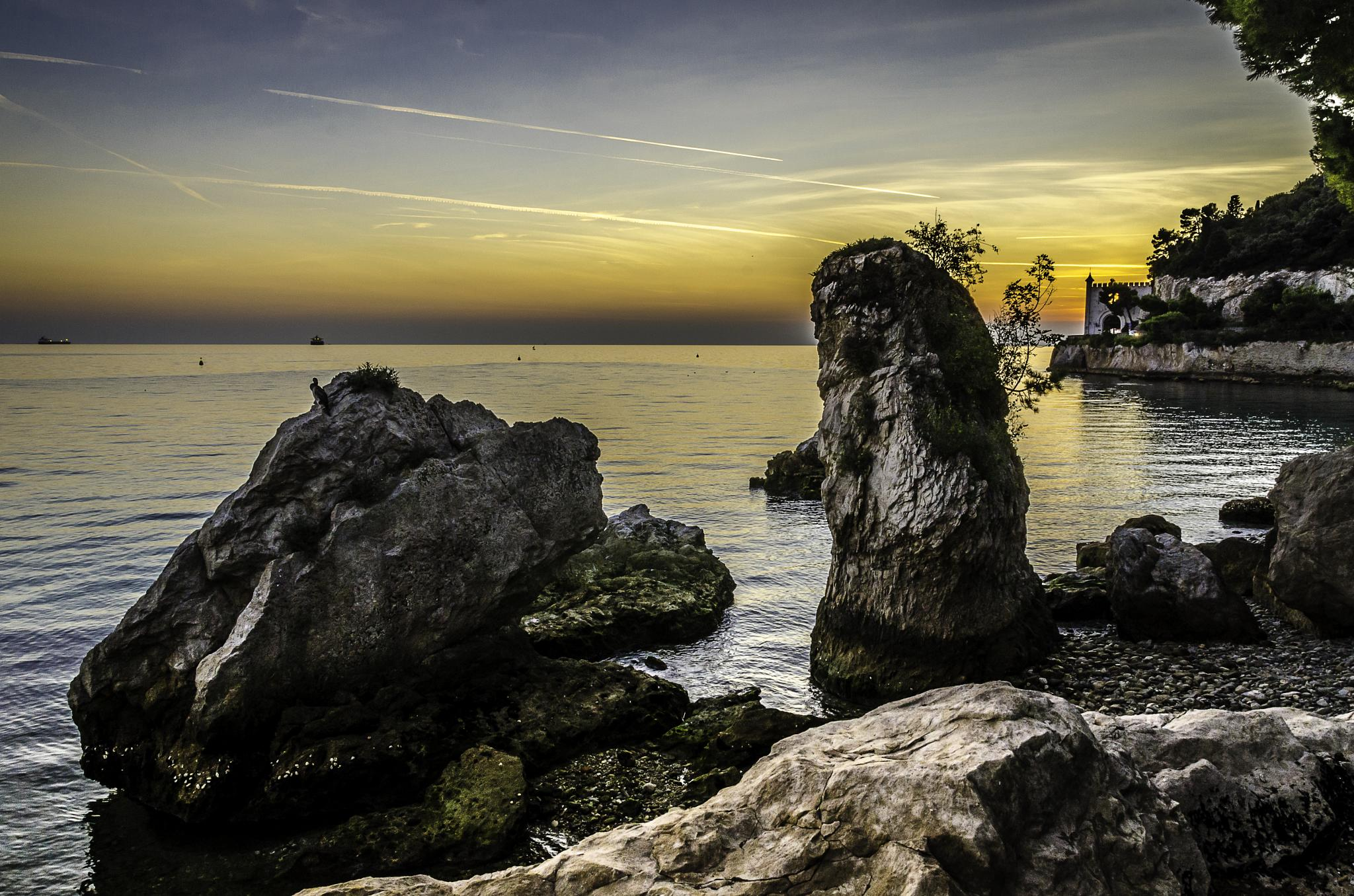 Sun set at the Adriatic coast, Trieste, Italy by DILIP KUMAR GHOSH
