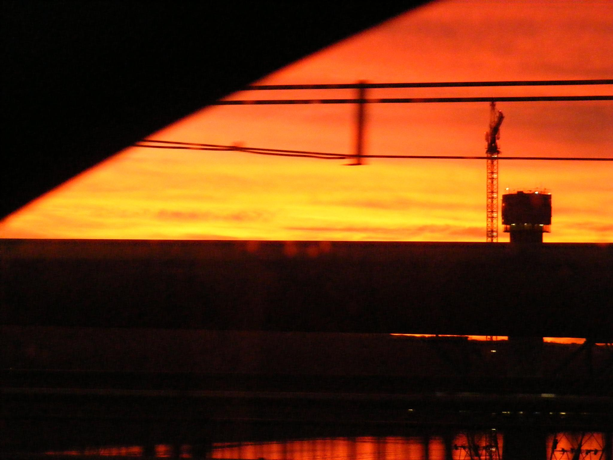 Sunset on the Forth Road Bridge by Andrea Jepson