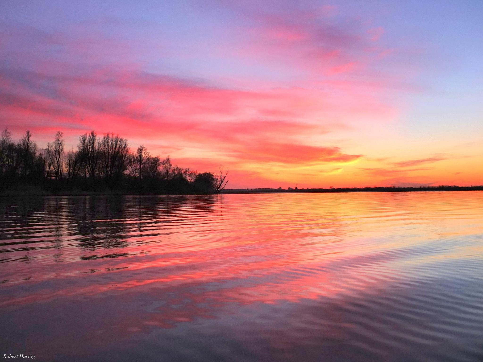 After Sunset De Grote Wielen Leeuwarden by Robert Hartog