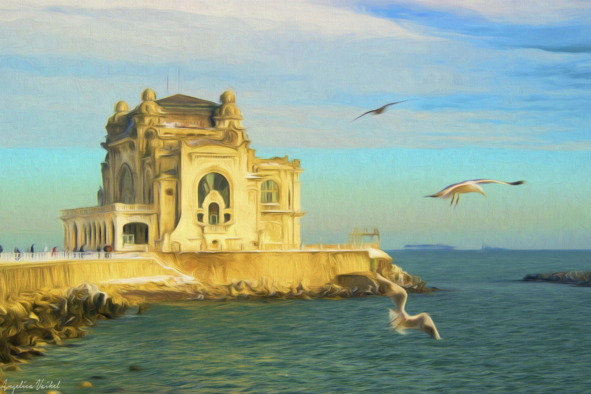 old casino and seagulls by Angelica Vaihel