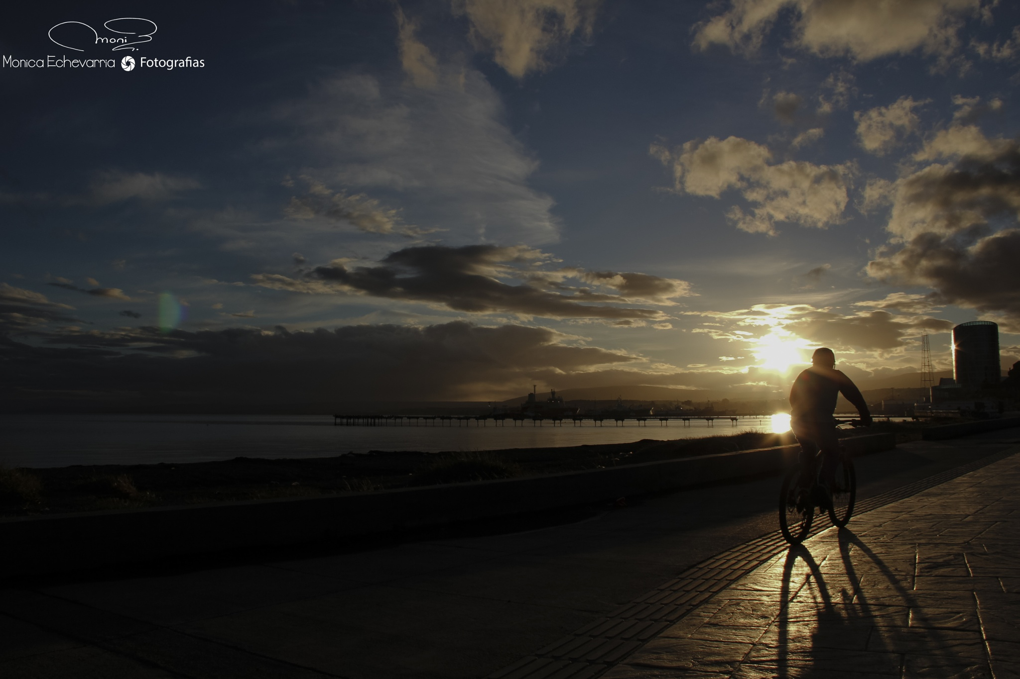 Cyclist and sunset by Monica Echevarria