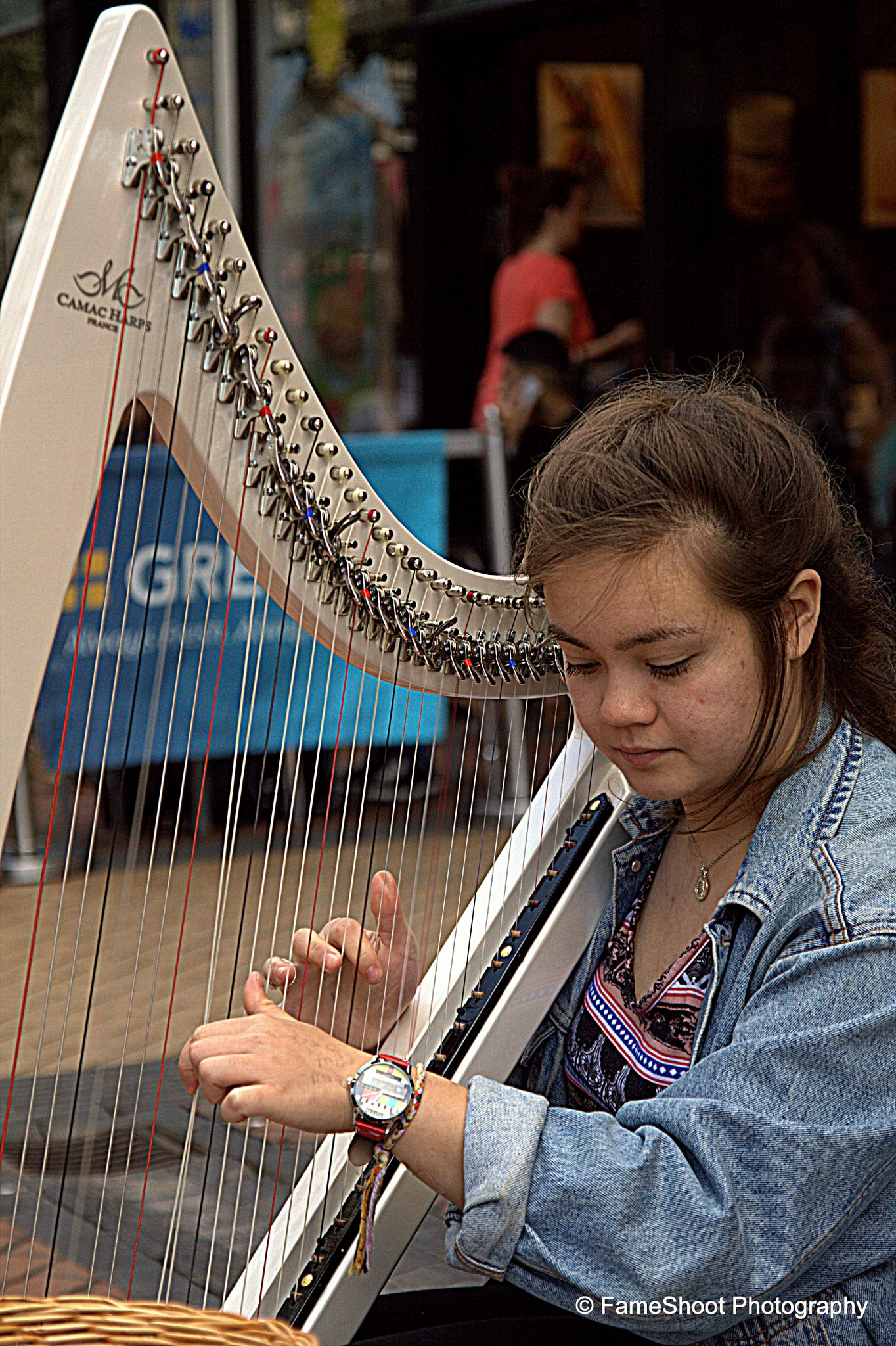 Street harp player  by Fame Shoot Photography