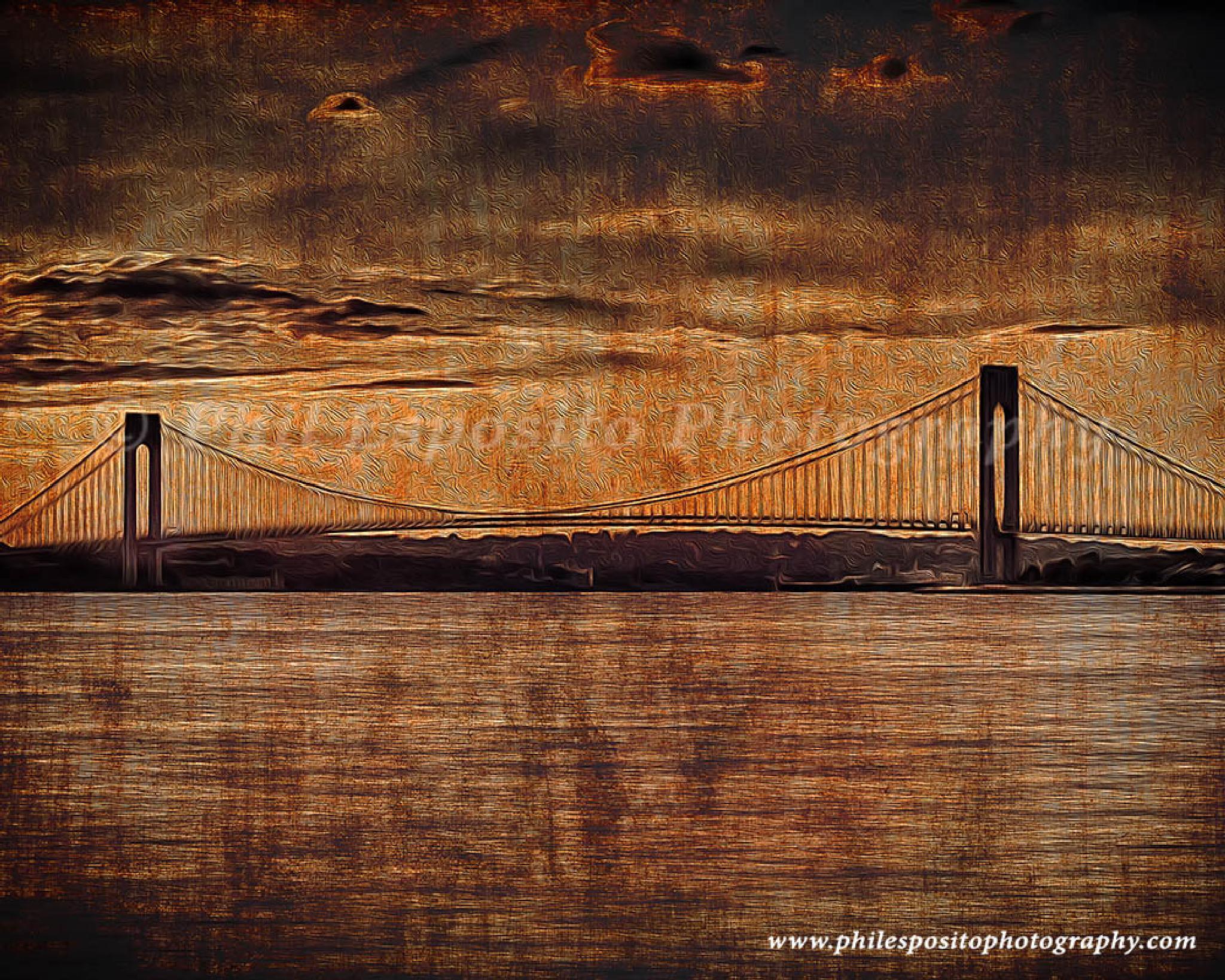 Verrazano Bridge on rusty metal by Phil Esposito