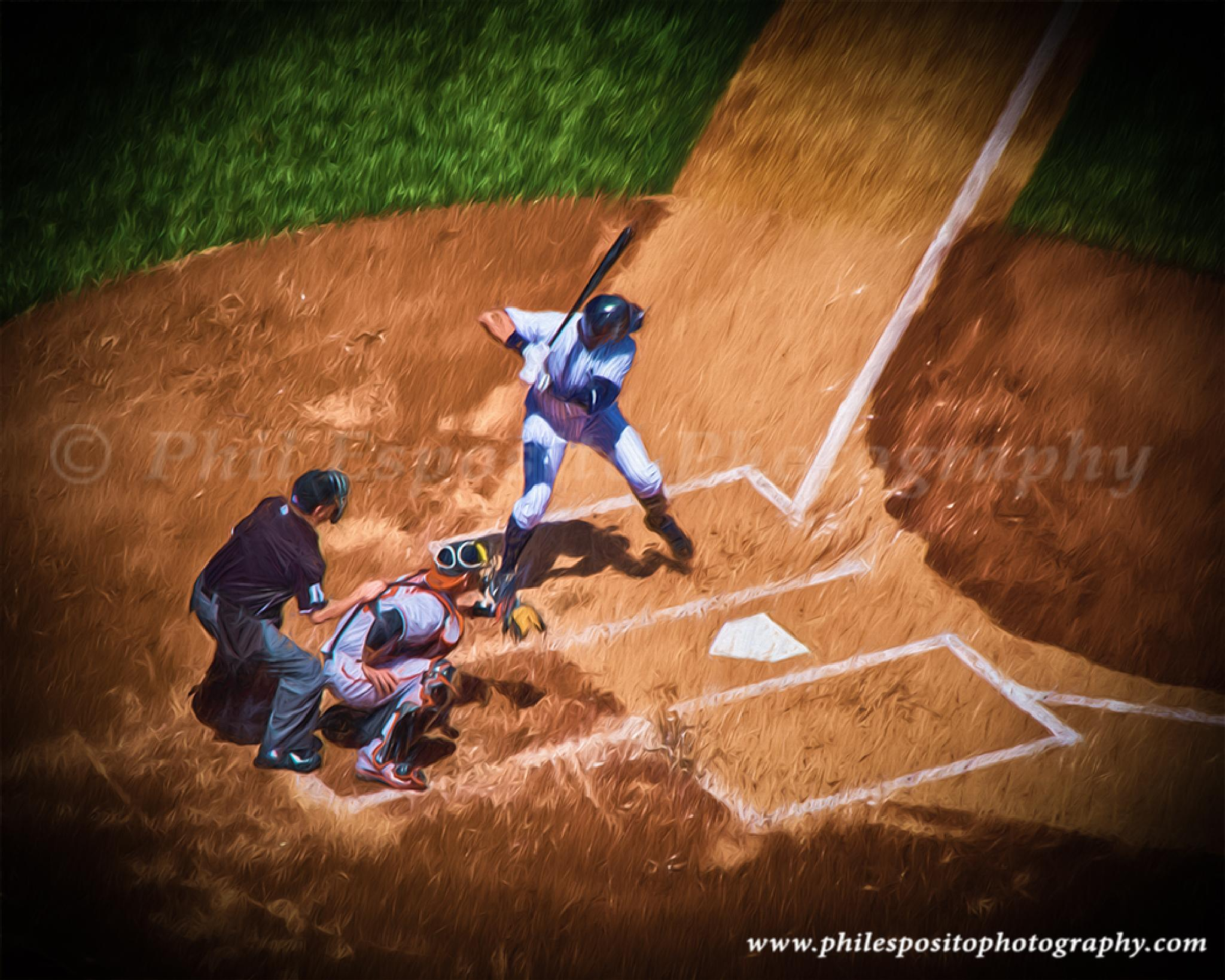 A Rod at the plate in oil by Phil Esposito