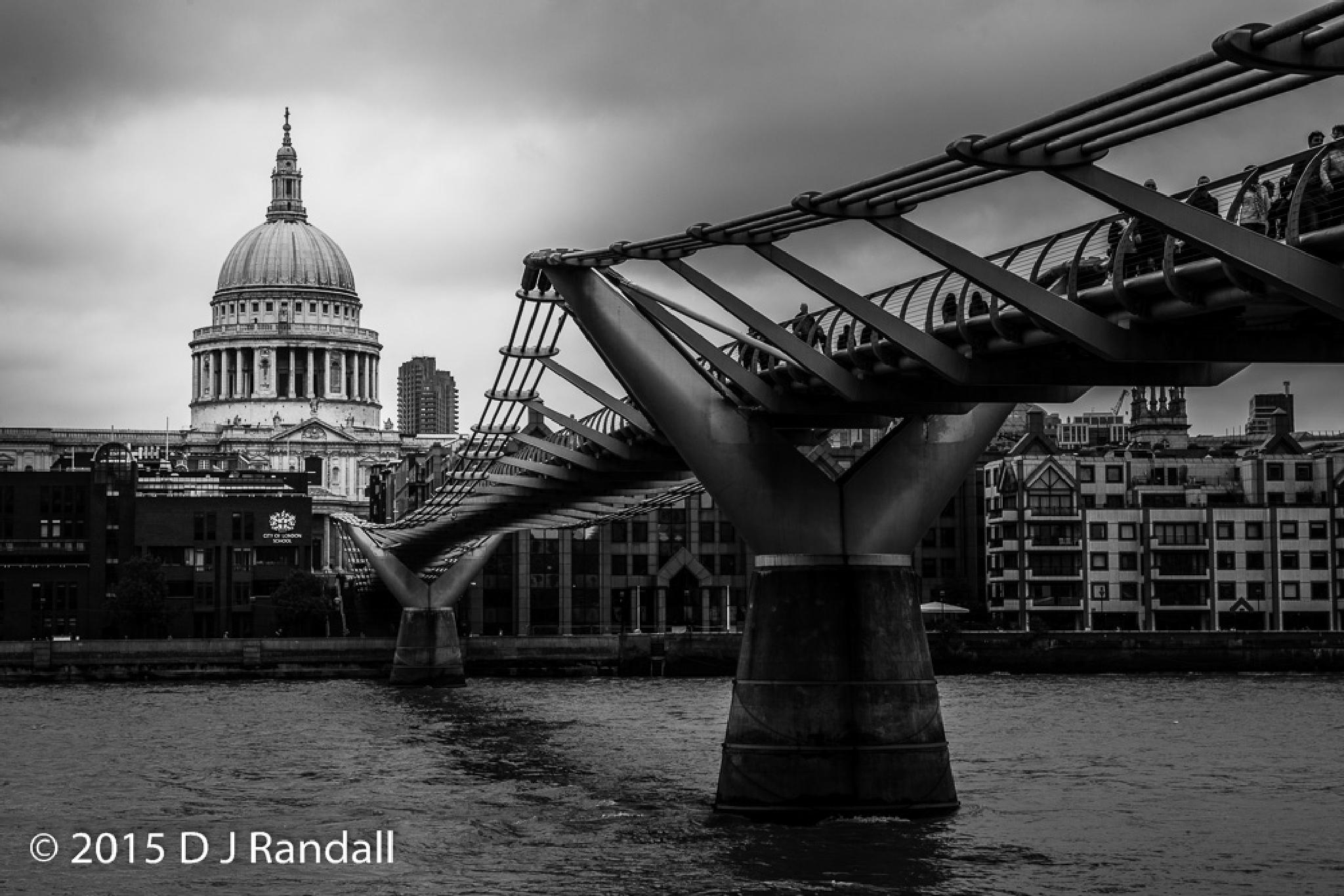 St Paul's and the Millennium Bridge on a grey London day by Albatroff