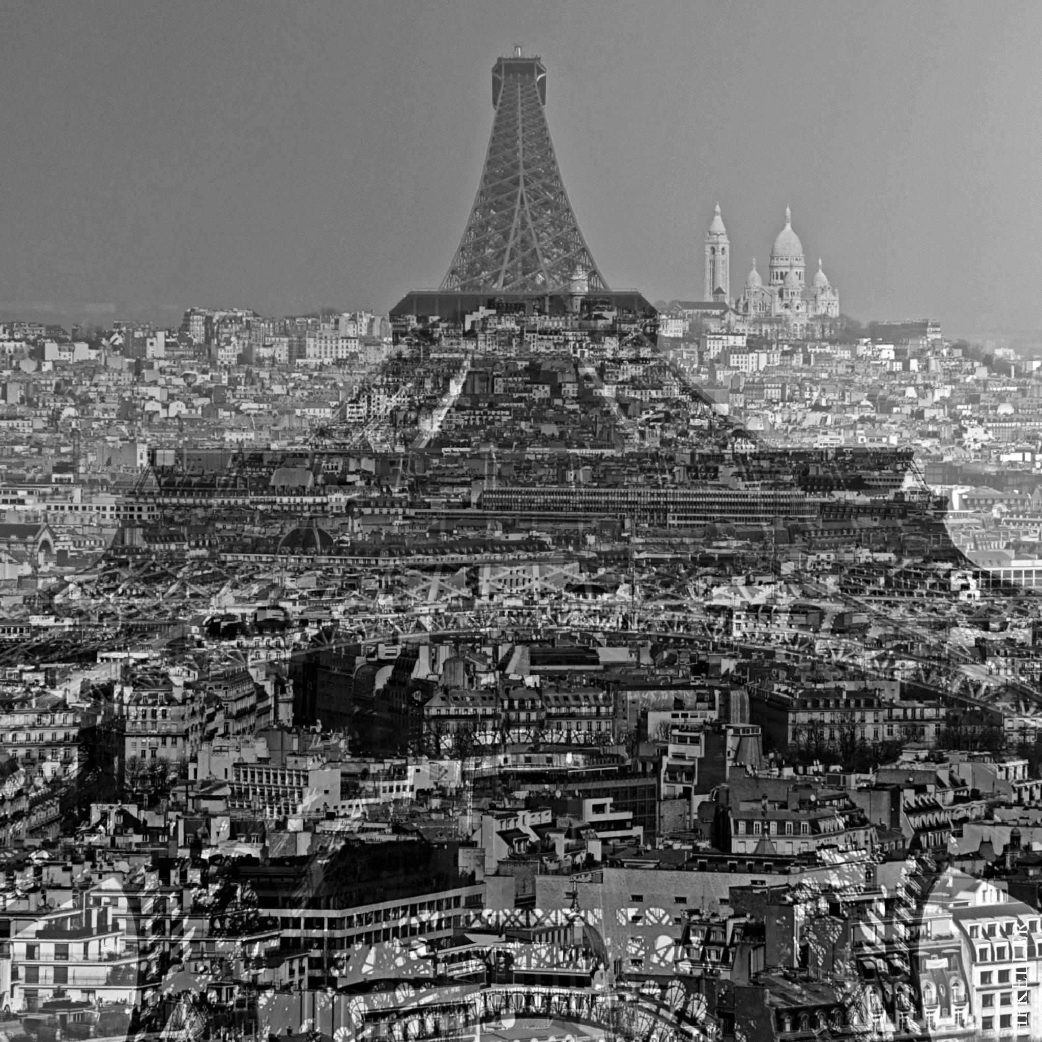 Some years ago in Paris,...Eiffel & Sacré-Cœur - Kombigrafie. by Hans-Peter Keller