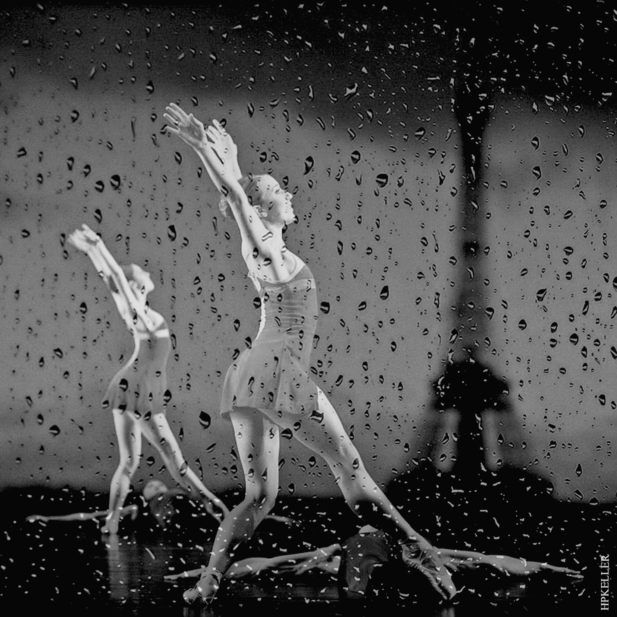 Walking in the rain II,  Analogscan - Kombigrafie by Hans-Peter Keller
