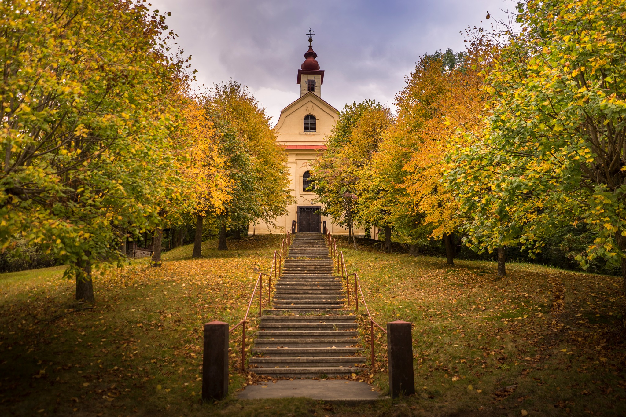 Autumn path to church. by MENGAart
