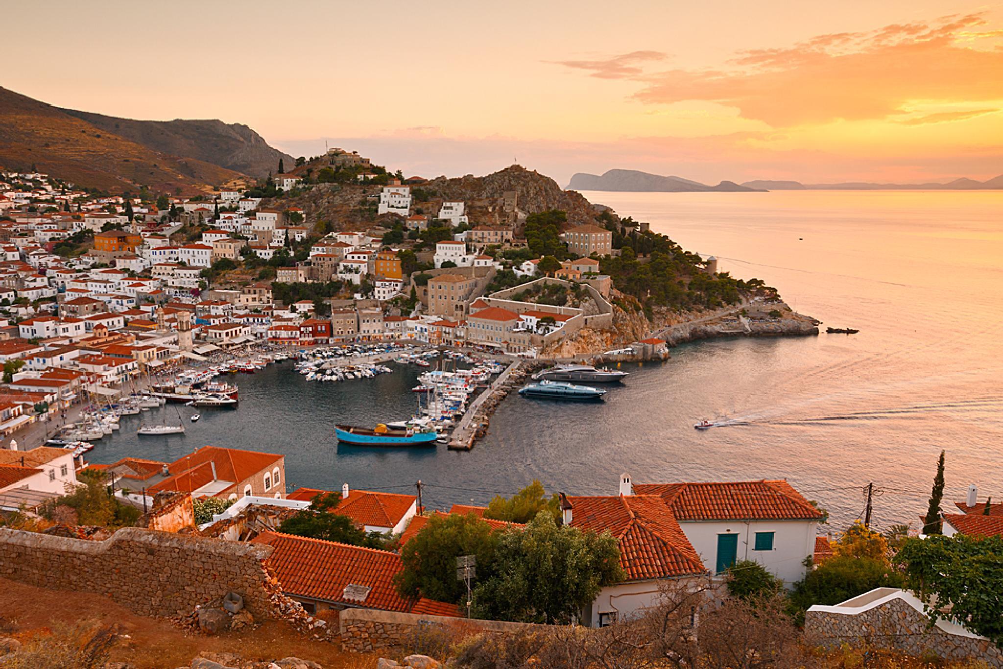 Photo in Landscape #hydra #greece #island #mediterranean #evening #sea #aegean #port #coast #village