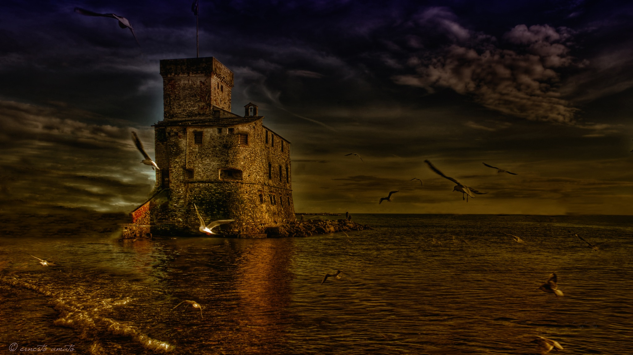a castle in the sea by sunrisesunset