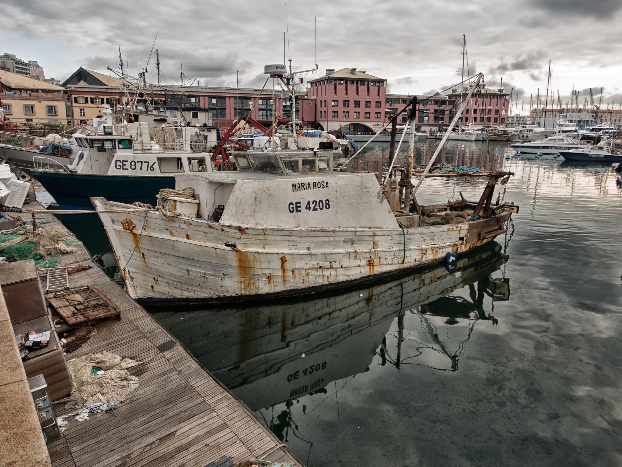 Maria Rosa fishboat in the Genoa docks by sunrisesunset