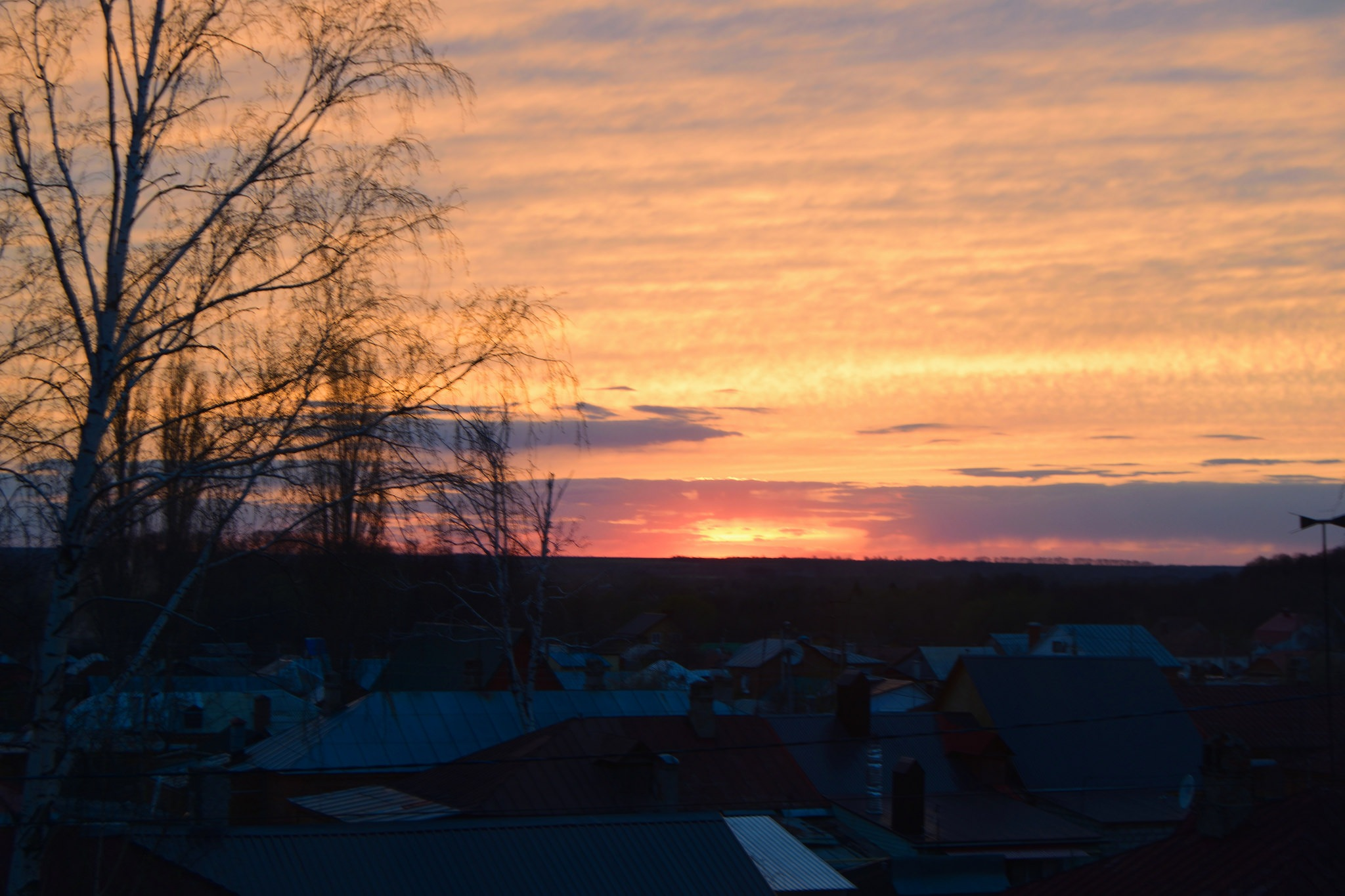 Colorful sunset over the roofs. by Andrey Gordeeff