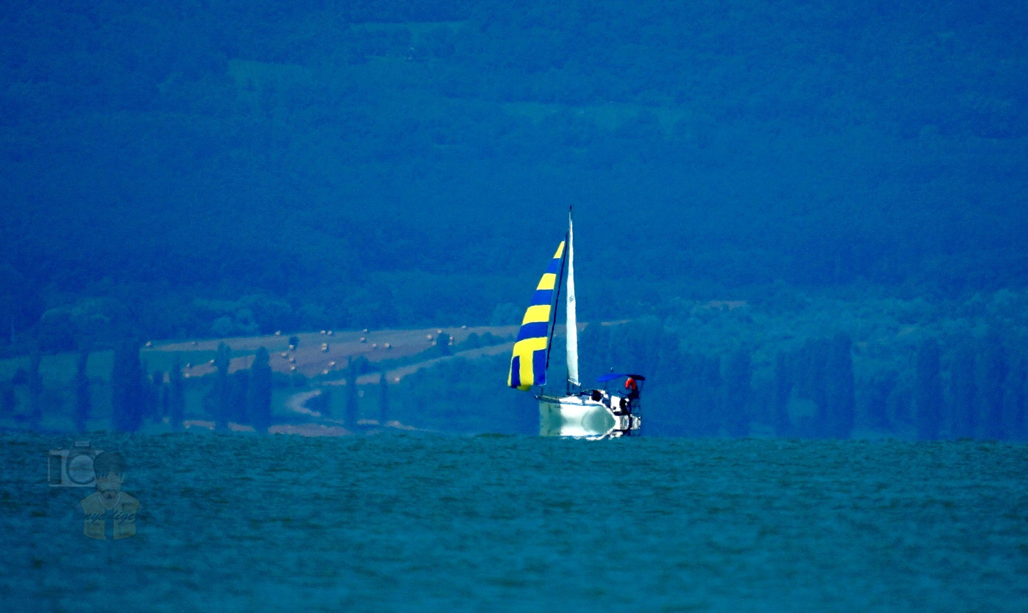 July 02,16. Sailboat on Lake Balaton & fata morgana by hunyadigeza
