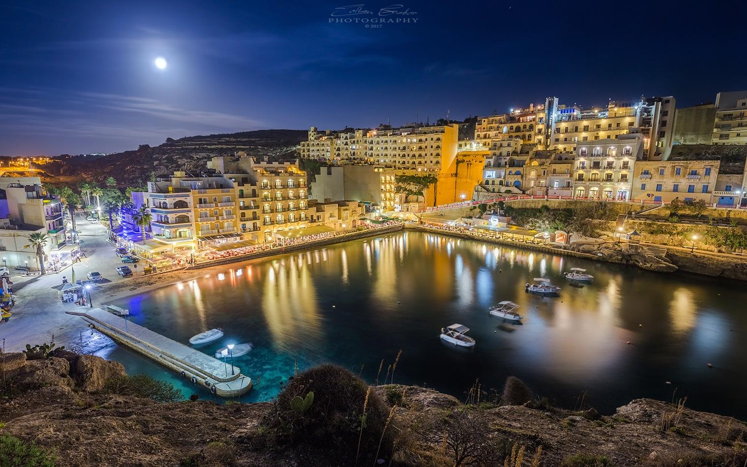 Night shot of the beautiful Xlendi bay on the island of Gozo - Malta by Zoltan Gabor