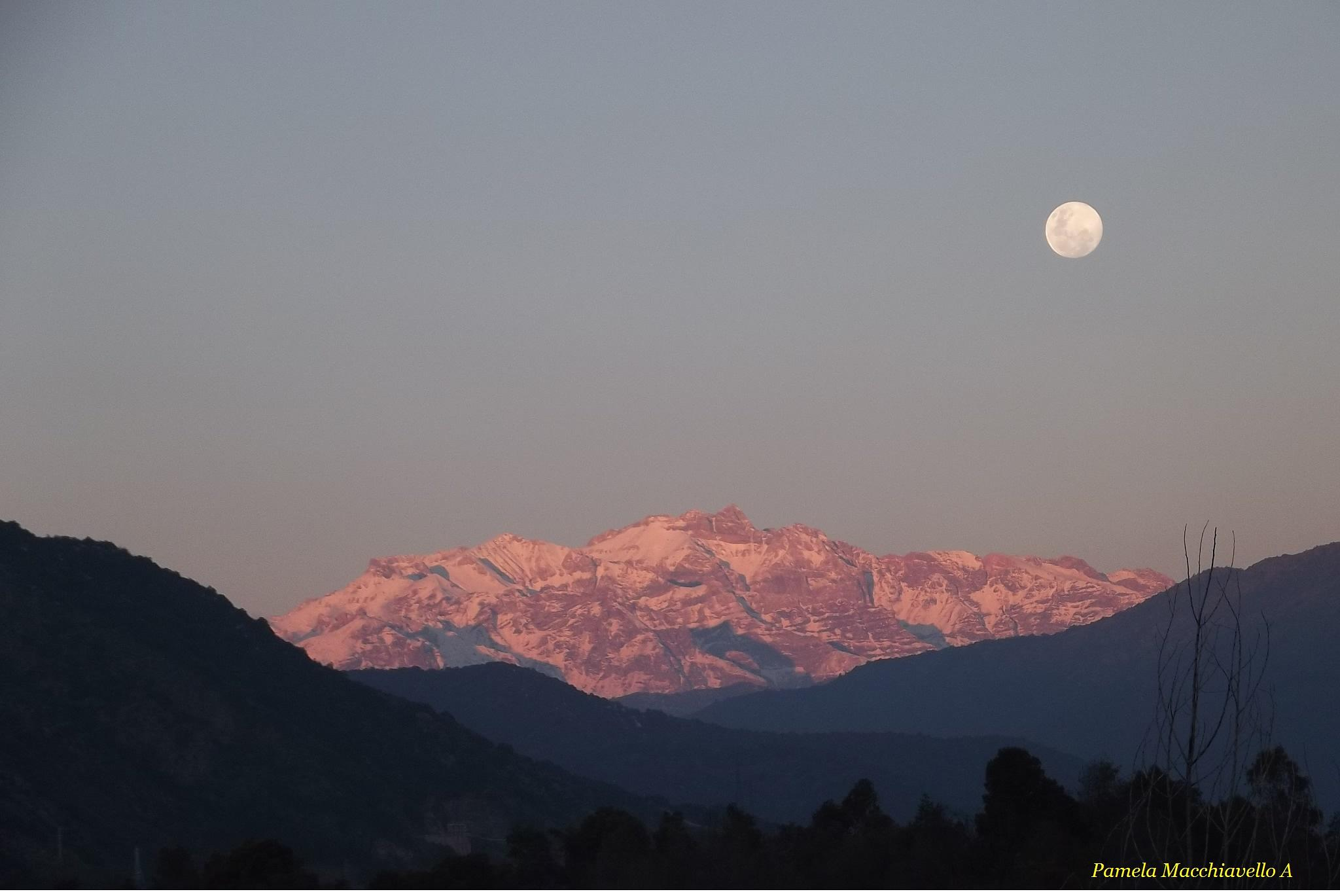 Sunset and moon by Pamela Macc
