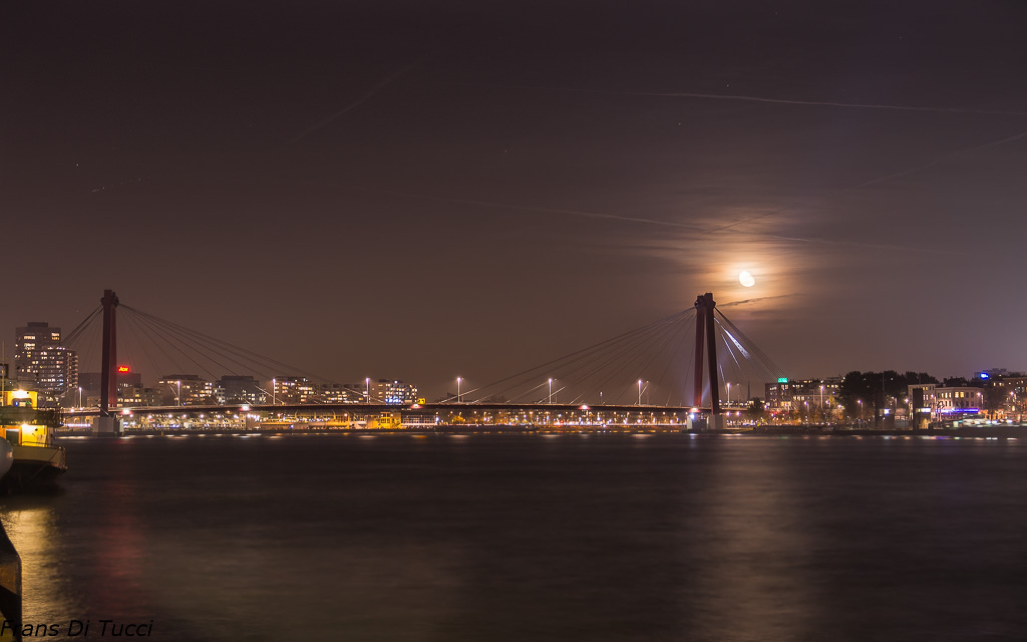 Moon rise over the bridge by frans.ditucci