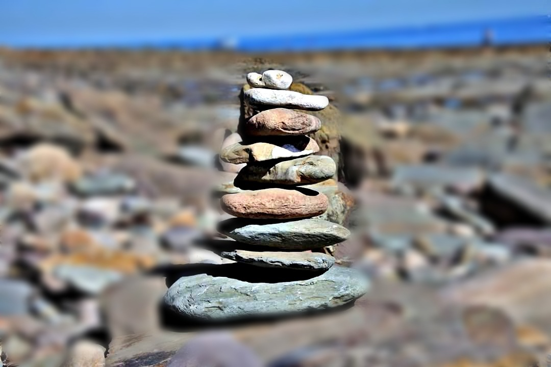orginal stone stacking picture changed to abstract  by sallyannegriff