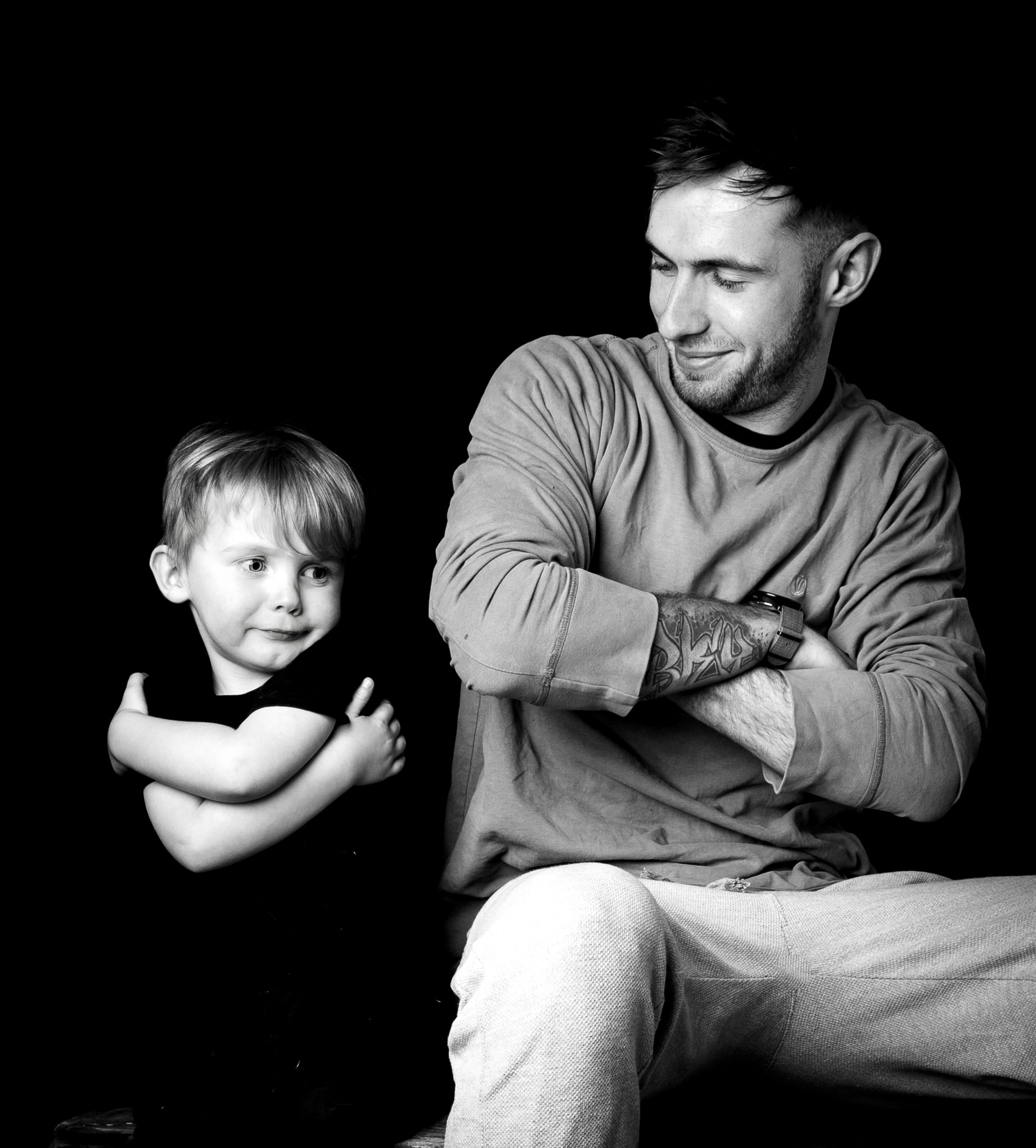 Grandson in the studio #bw by Gina Rayment