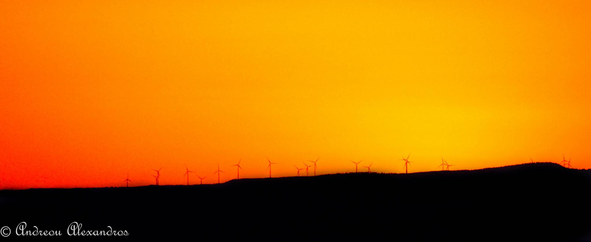Windmills Silhouettes by Alexandros Andreou