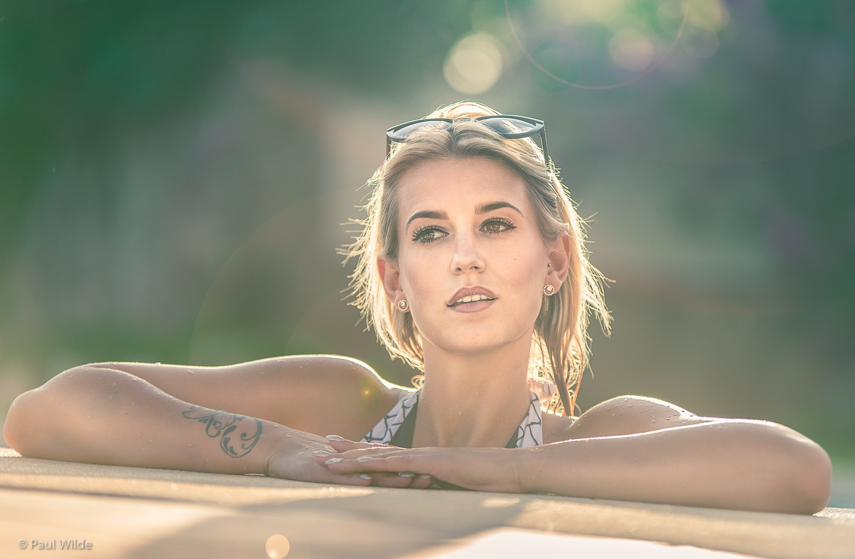 Lauren in the villa pool by P A U L W I L D E