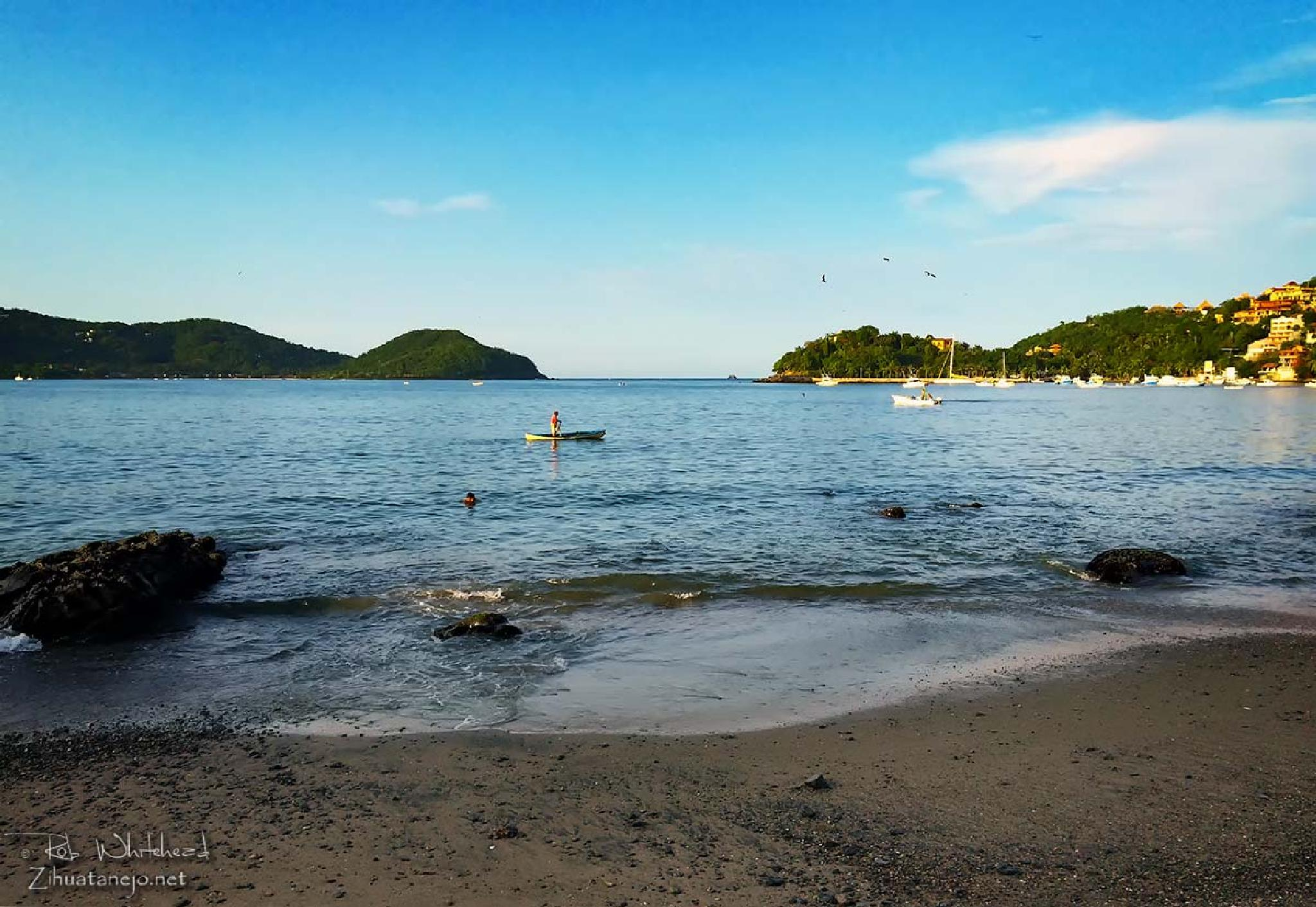 Photo in Sea and Sand #ocean #beach #landscape #canoe #fisherman #zihuatanejo #mexico #tropical #tropics