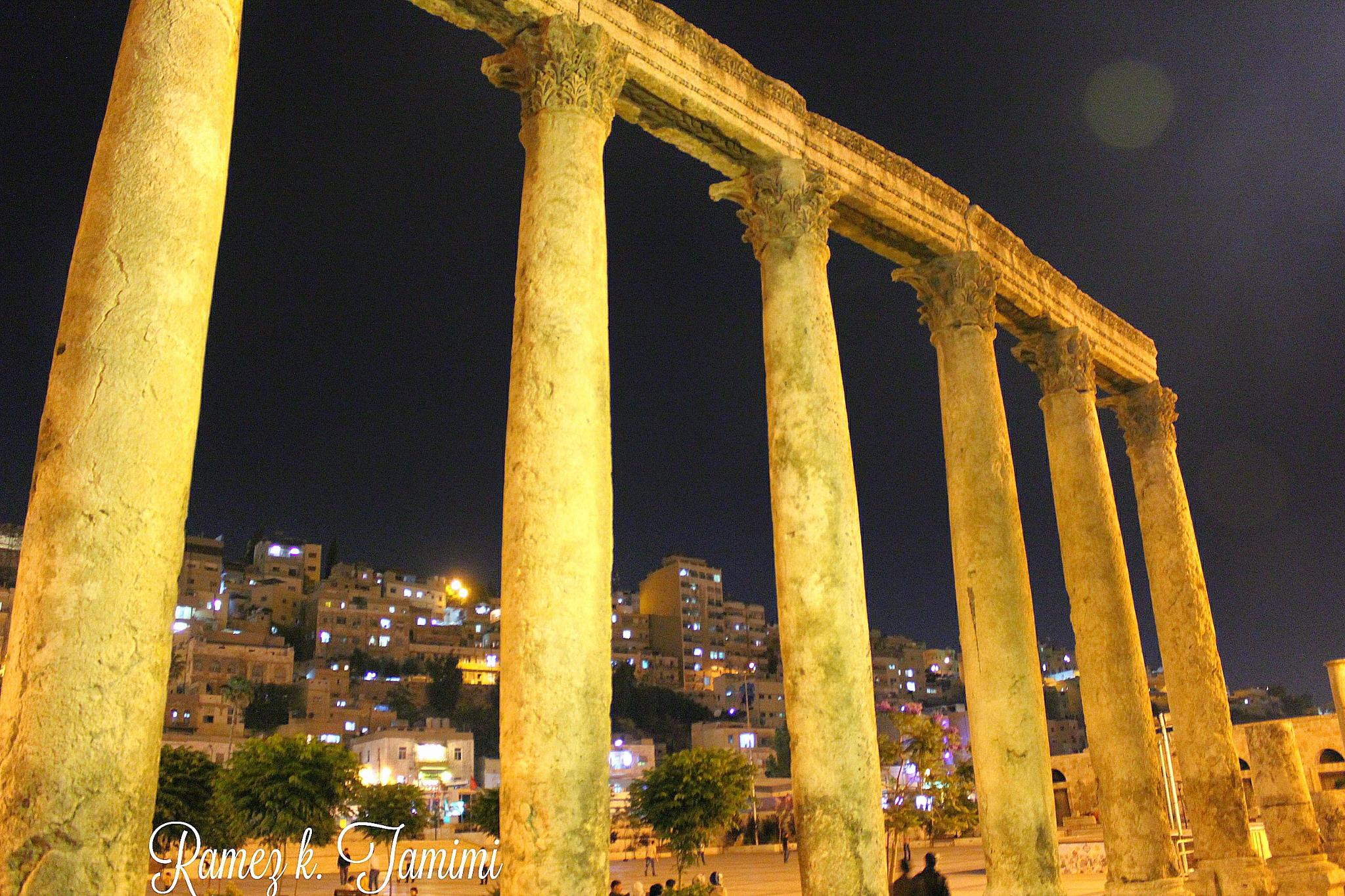 The Roman Old columns-Amman Jordan by Ramez k. Tamimi