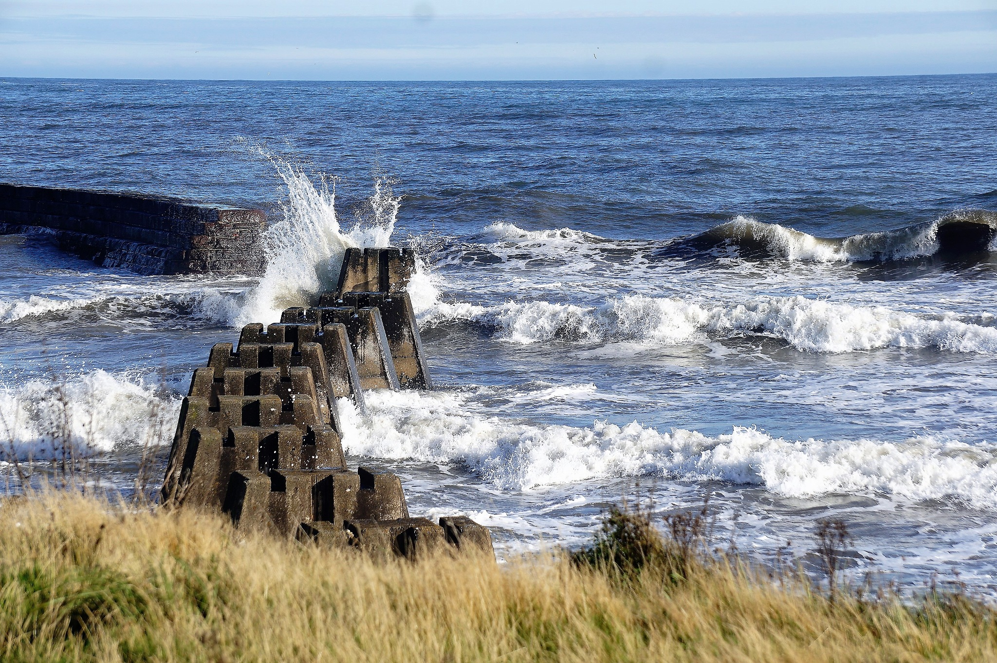 """Waves crashing into Breakwater"""" by Thania Wehmeyer"""