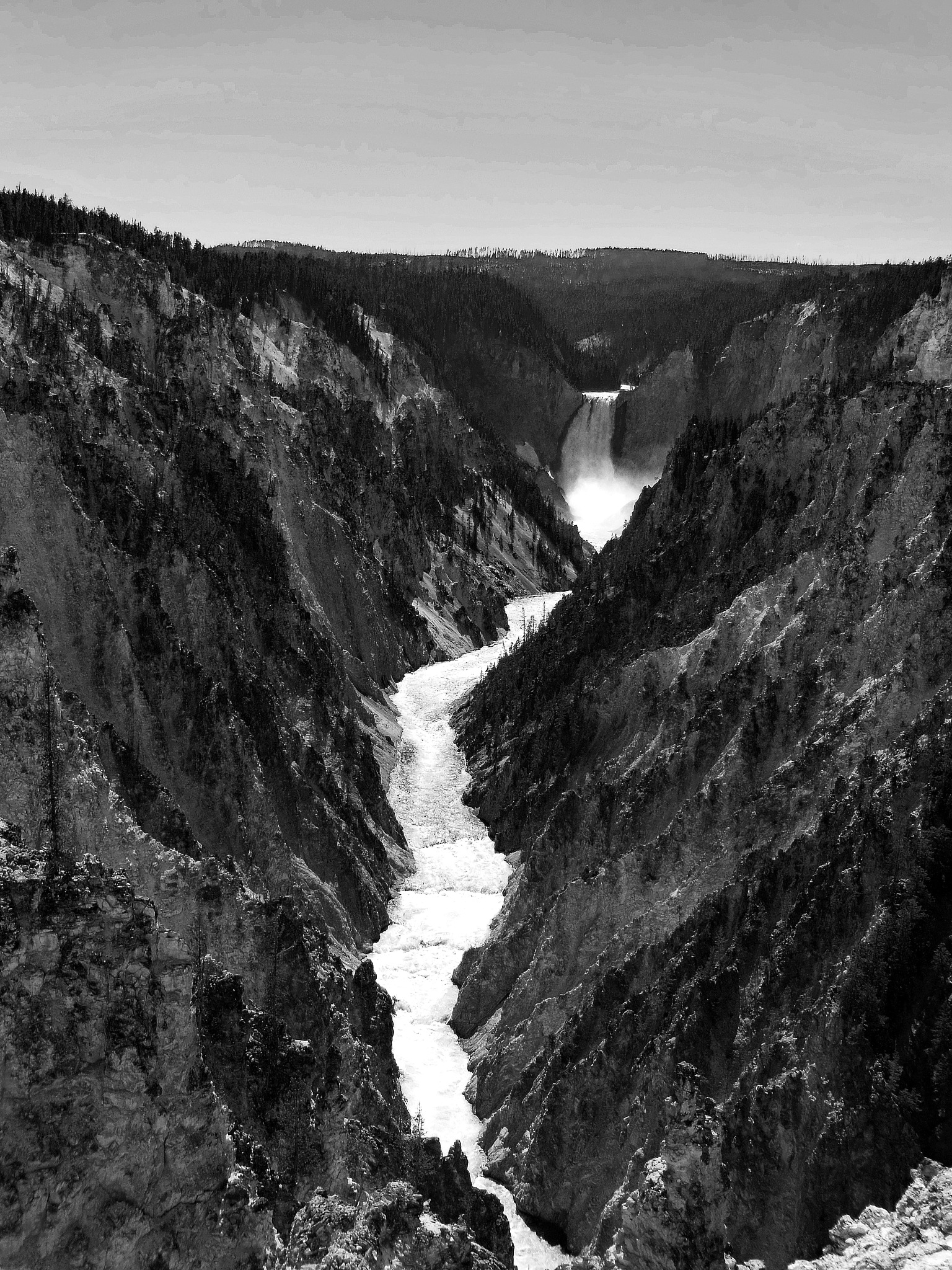 Yellowstone river in Black and White by rayboudewyn