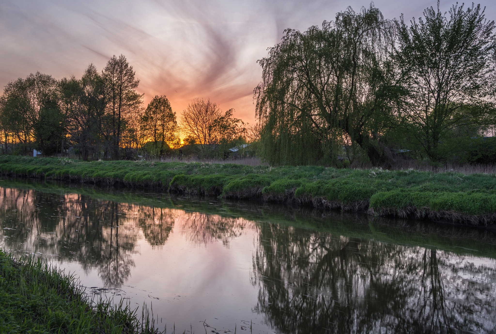 sunset over the Krzna river by Eagle70