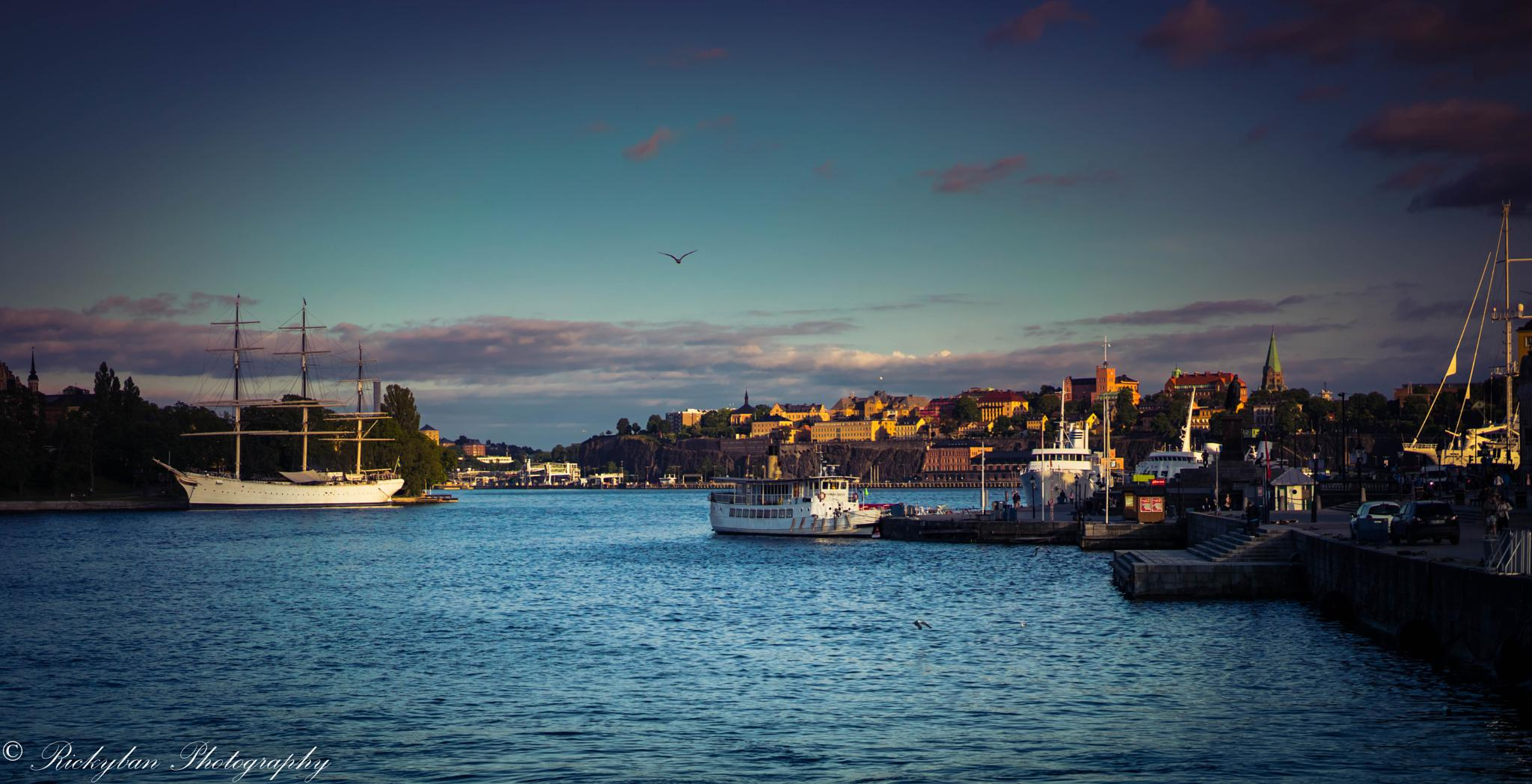 Photo in Landscape #stockholm #sunset #landscape #water #boats