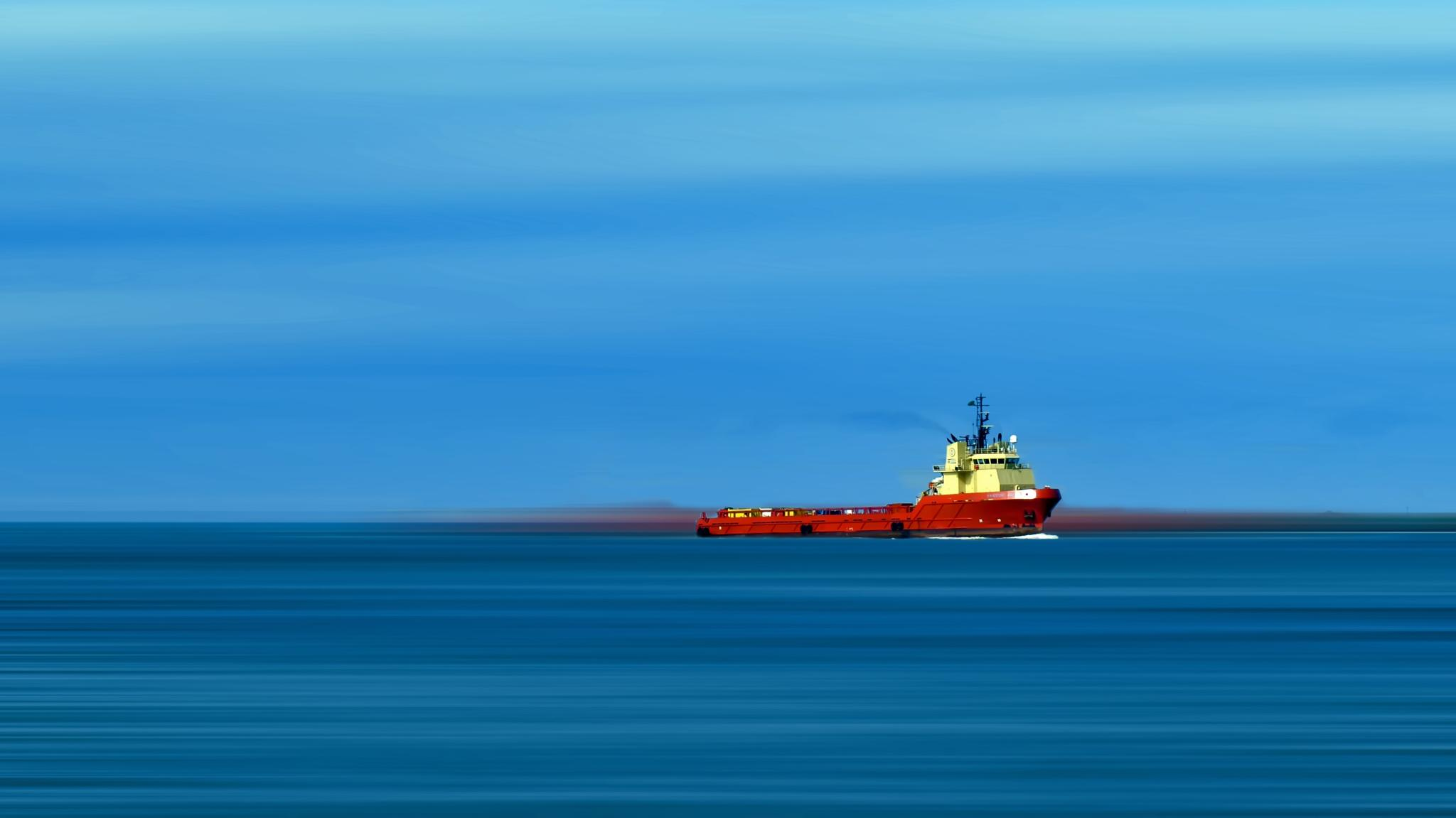 The ship in the blue sea by rubem.campos