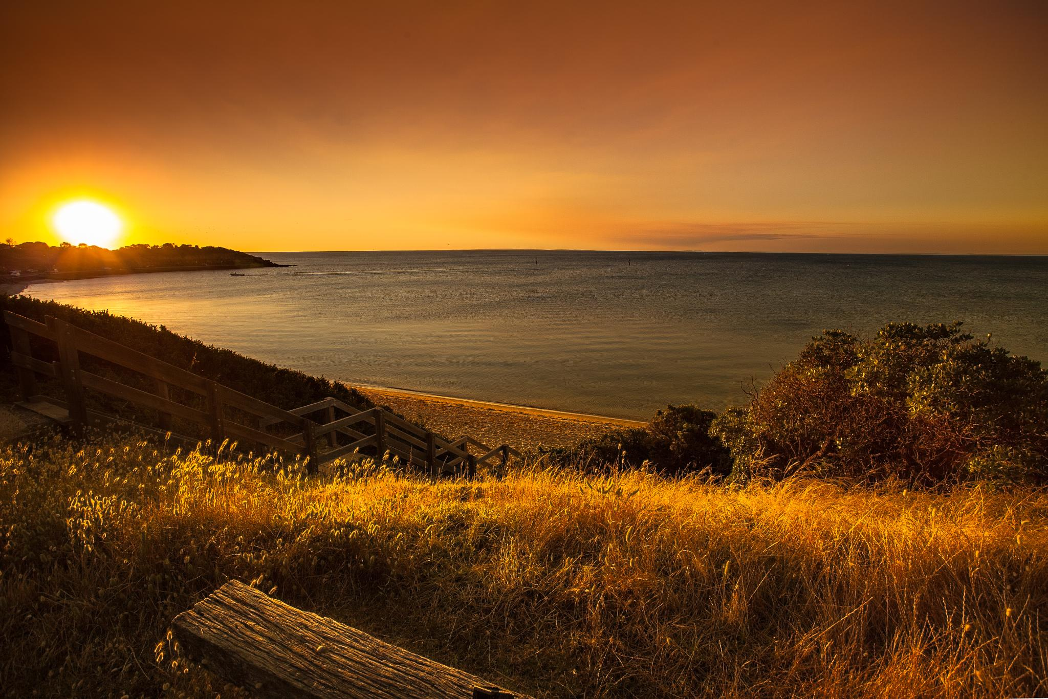 Sunset over Fisermans Beach by johnmccoyphotography